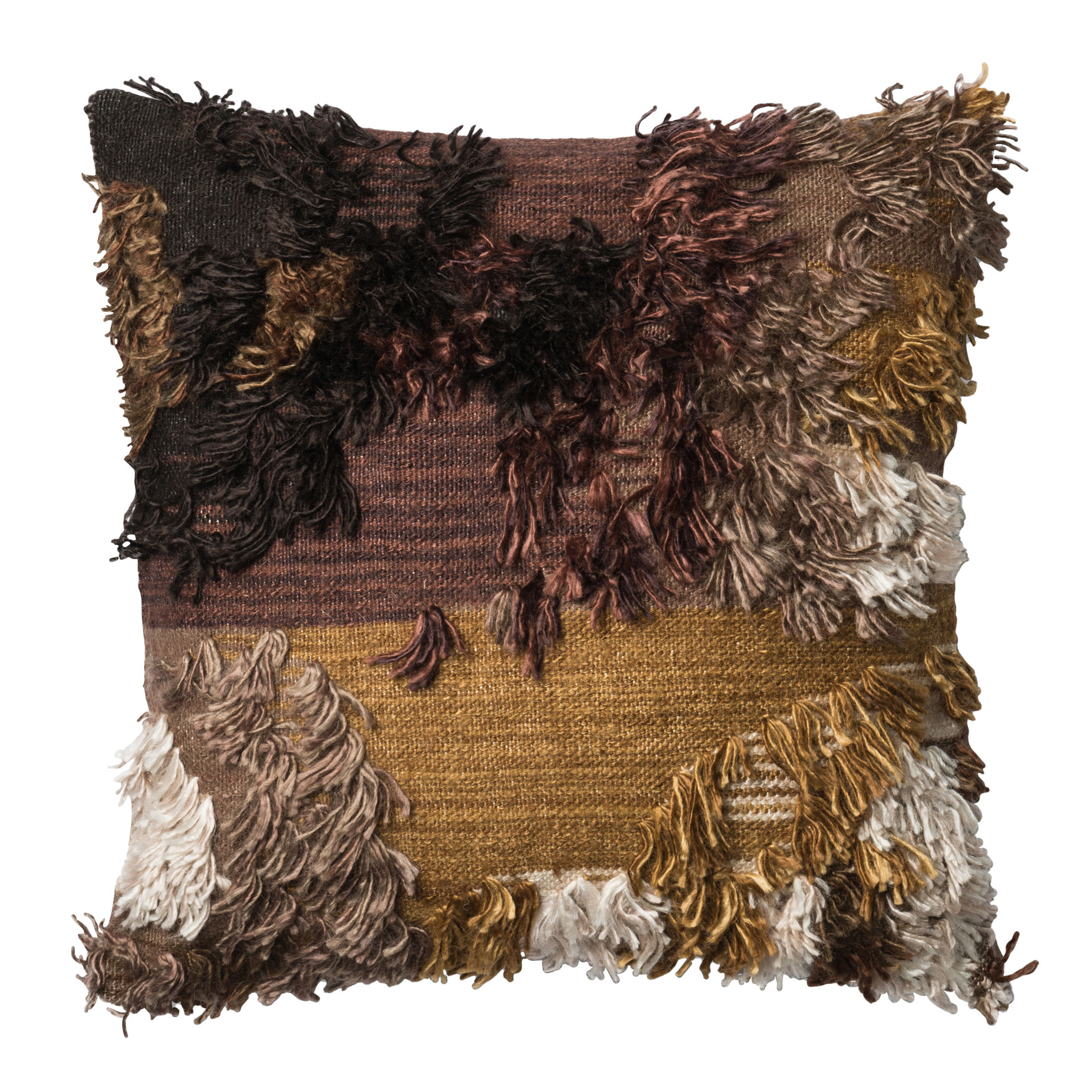 Shaggy Bohemian Earth Decorative Pillow, WALNUT