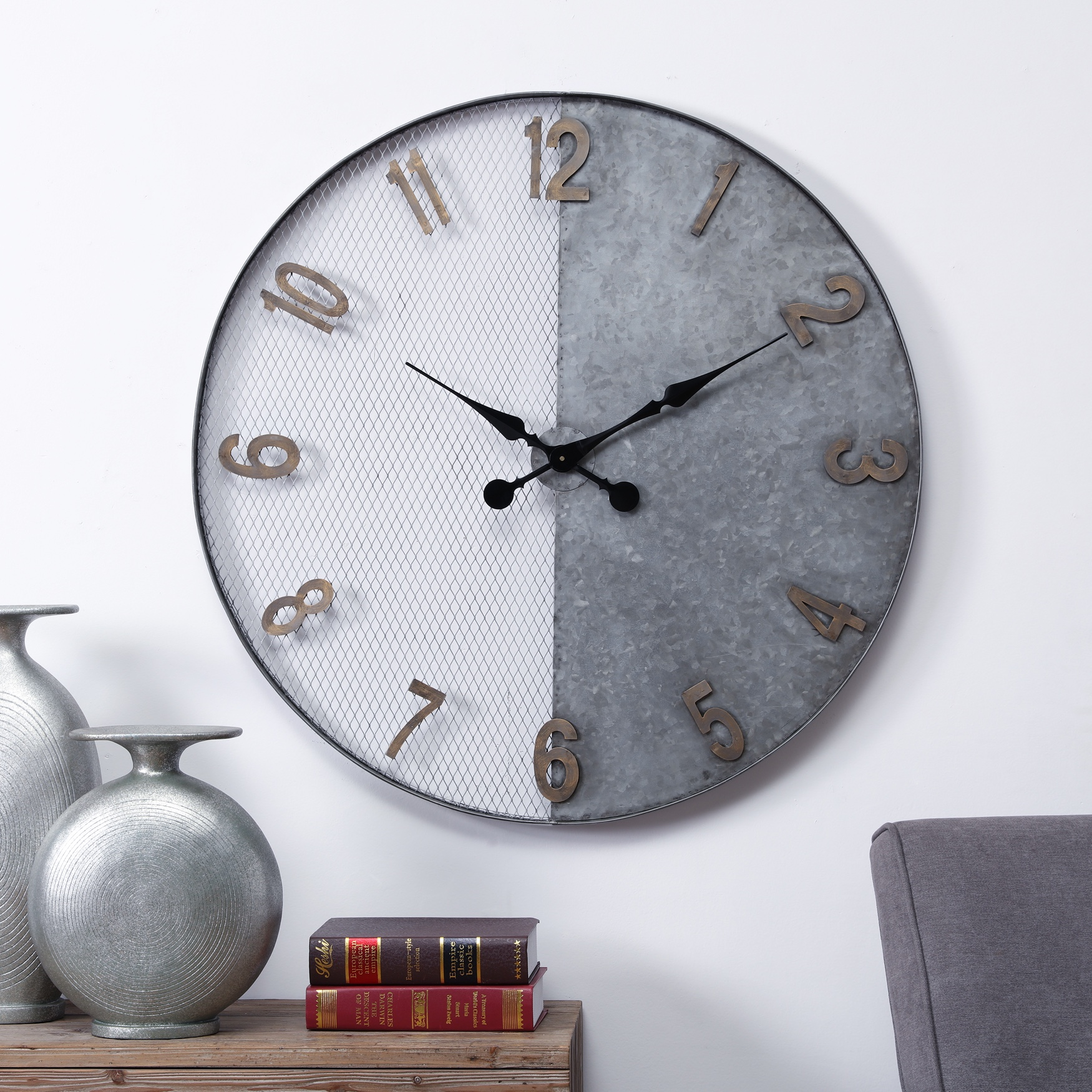 Montreux Oversized Wall Clock, SILVER