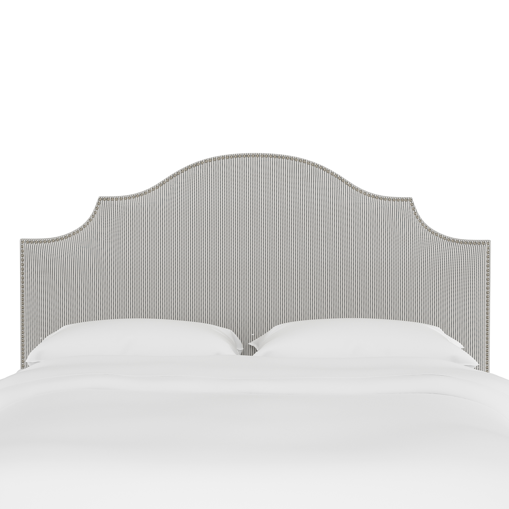 Stripe Nail Button Notched Headboard,