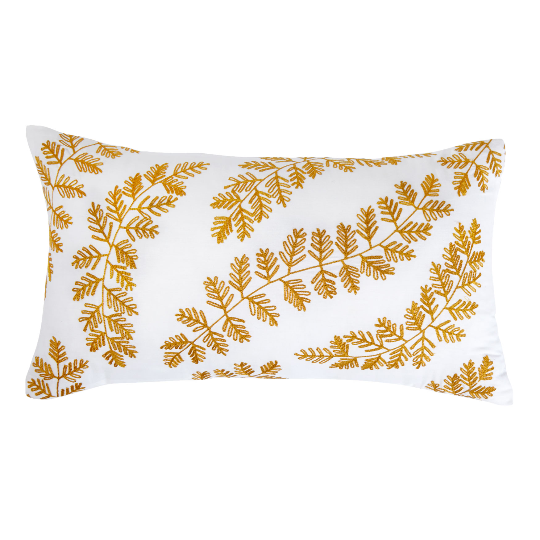 Paisley Embroidered Lumbar Pillow, IVORY GOLD
