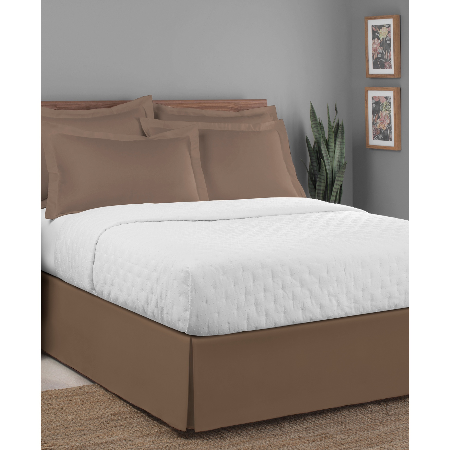 "Luxury Hotel Classic Tailored 14"" Drop Mocha Bed Skirt,"