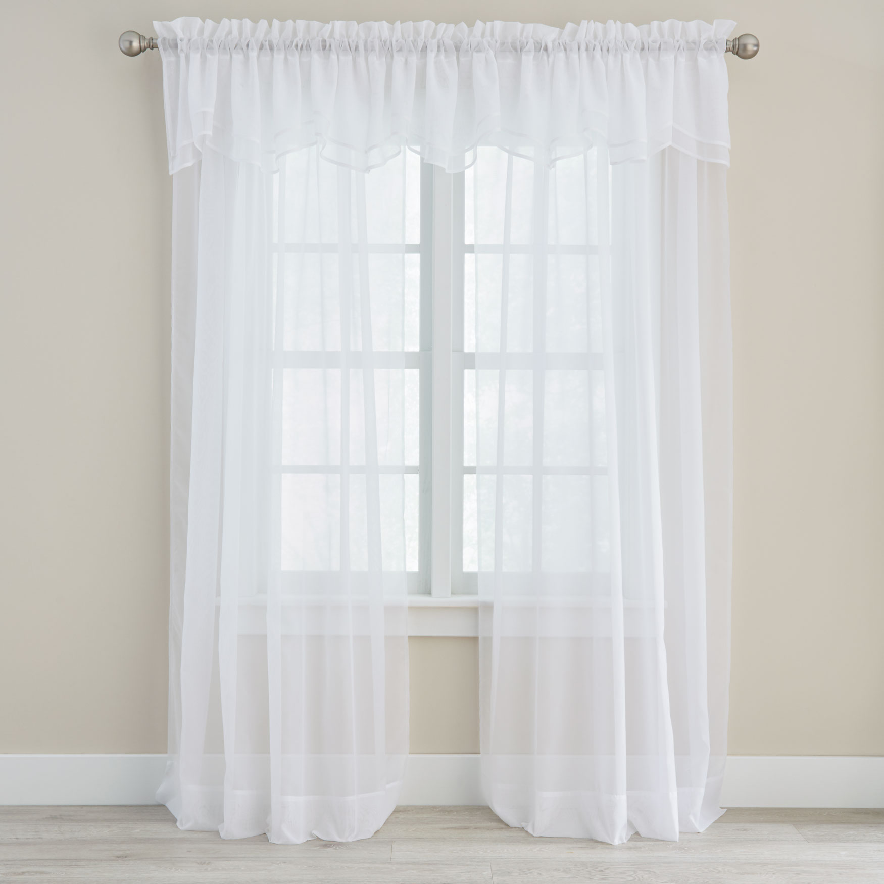 Voile Valance Part - 19: BH Studio® Sheer Voile Layered Valance, WHITE