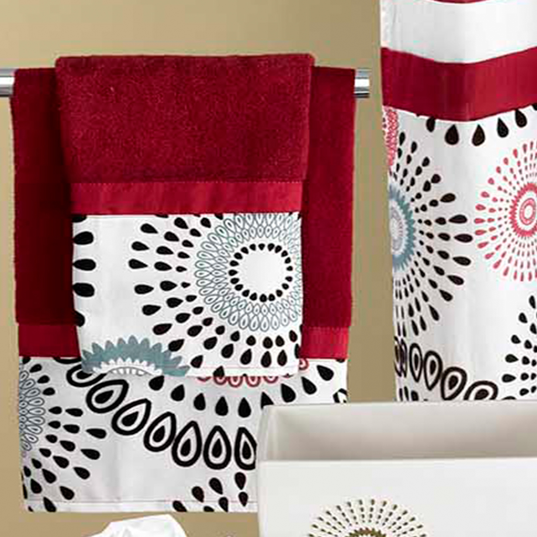 Suzanni 3pc Bath Towel Set  , BURGUNDY