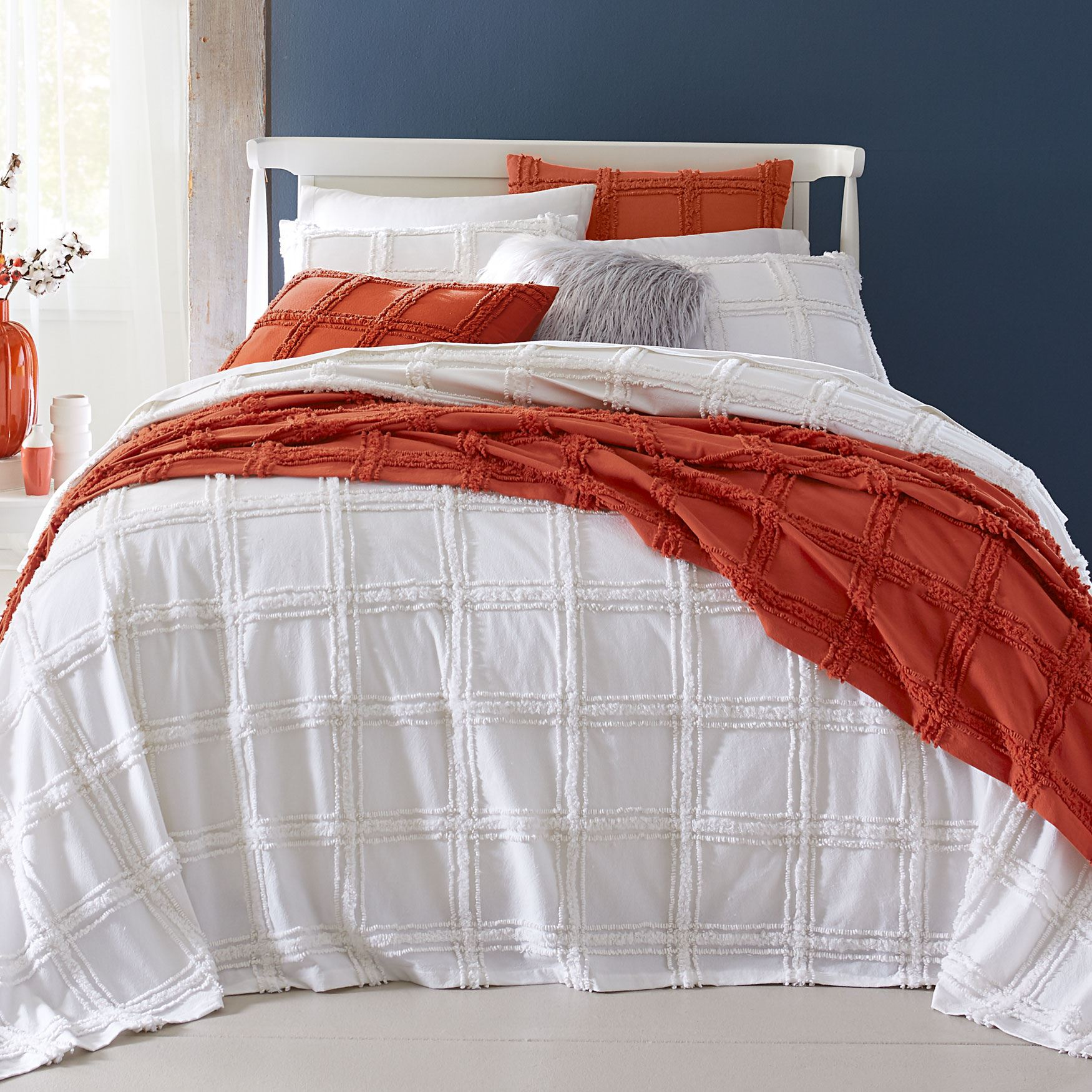 Window Pane Chenille Bedspread Collection,