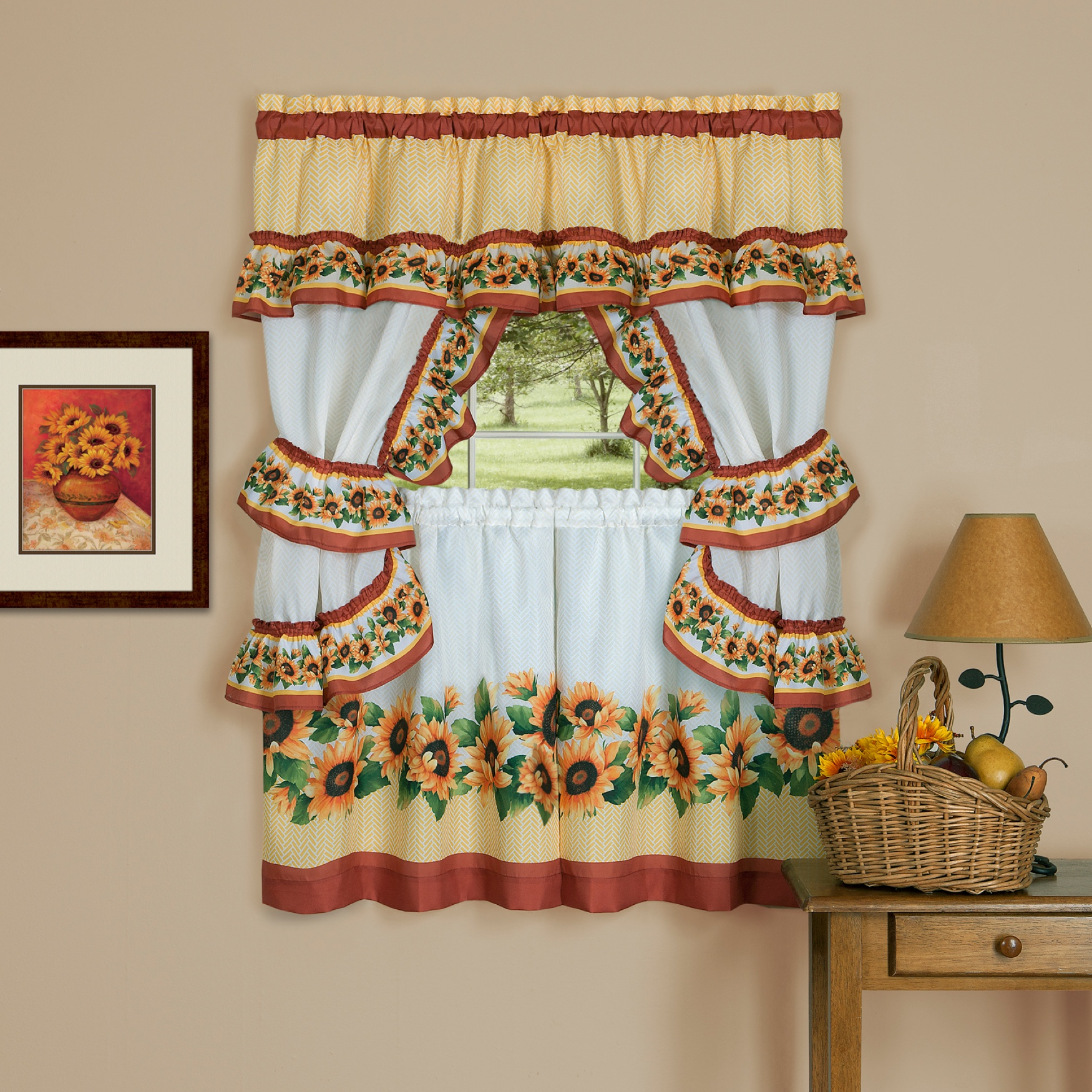 Black Eyed Susan Cottage Window Curtain Set,