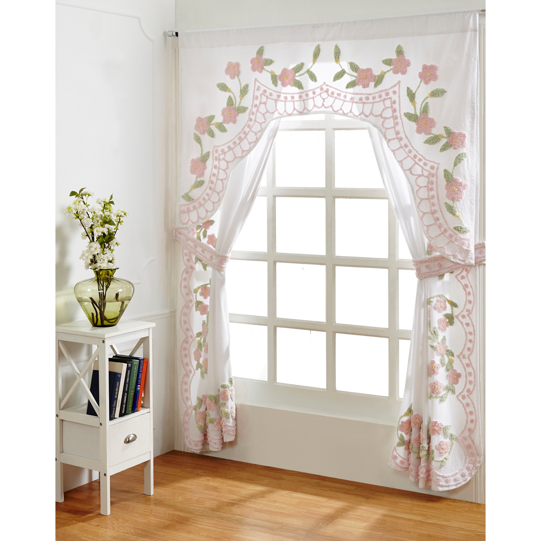 Bloomfield Collection in Floral Design 100% Cotton Tufted Chenille Curtain 2 Piece Set , ROSE