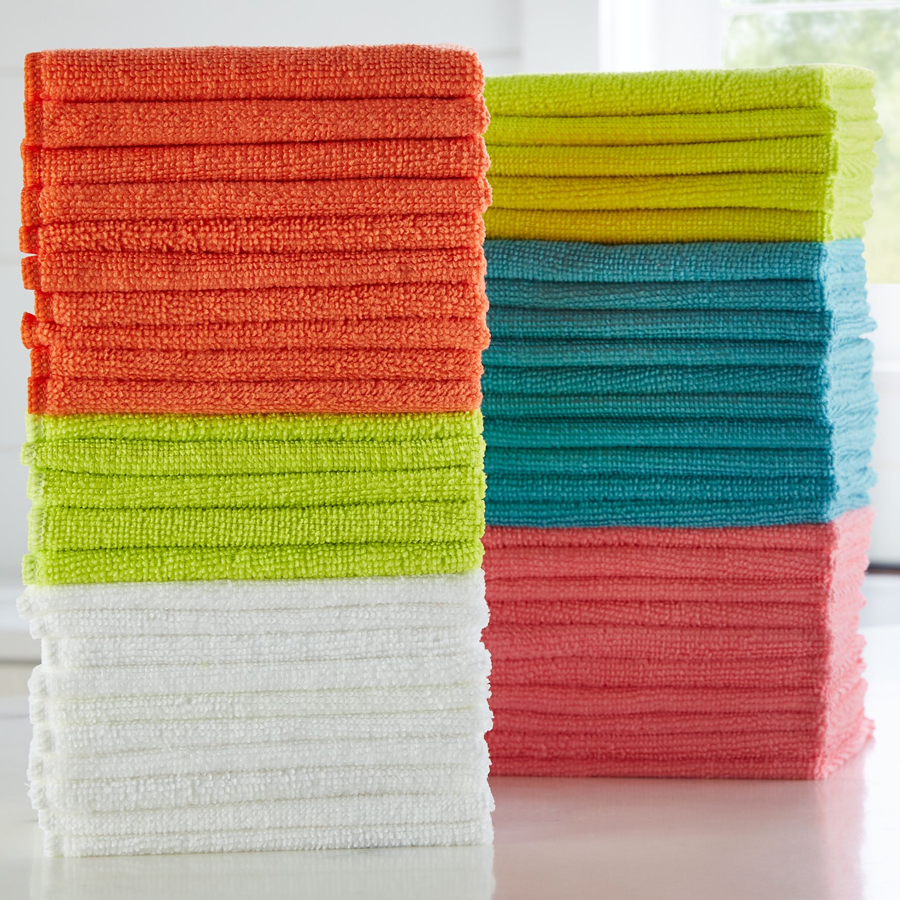 Set of 50 Microfiber Towels, MULTI