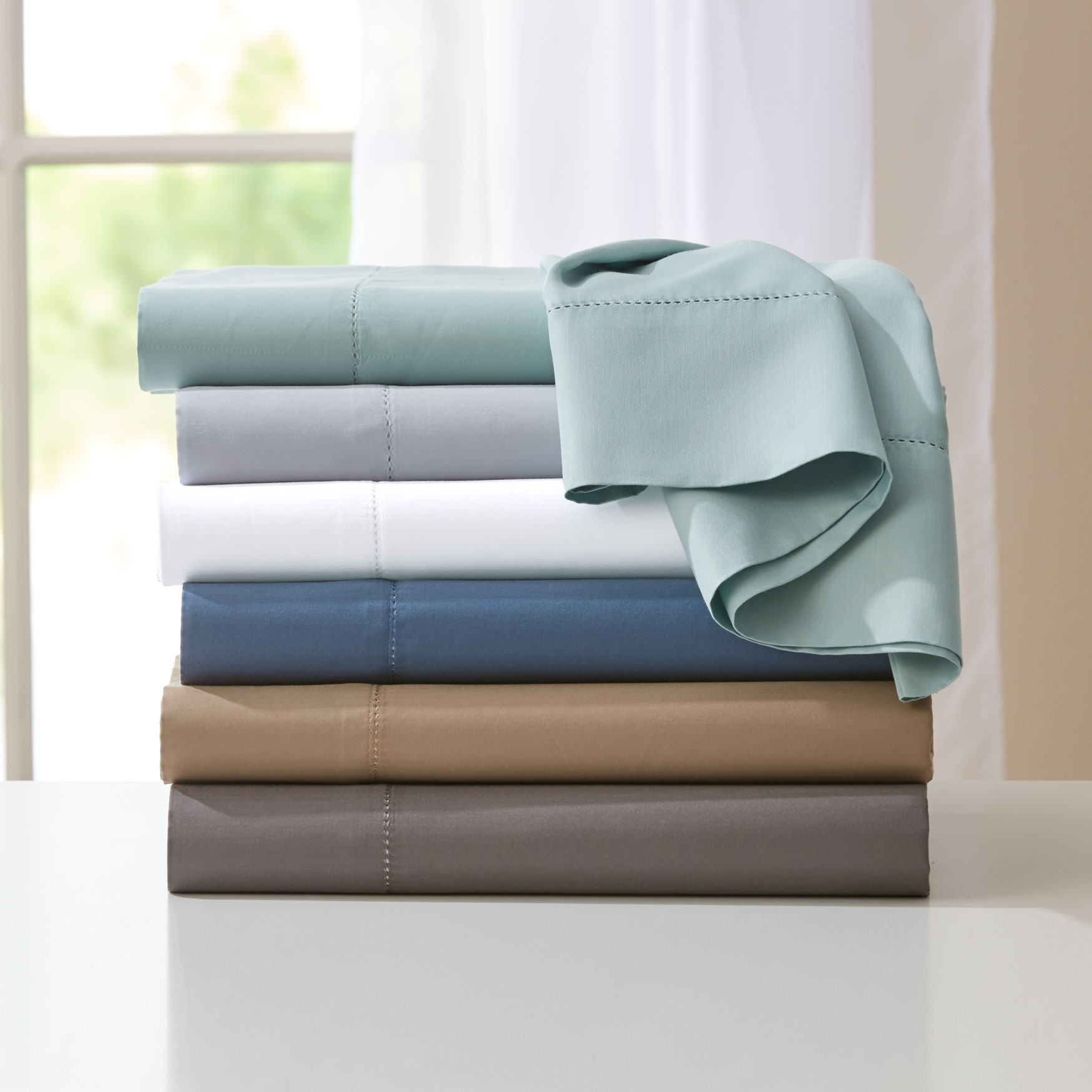 600-TC 6-Pc. Solid Cotton Blend Sheet Set ,