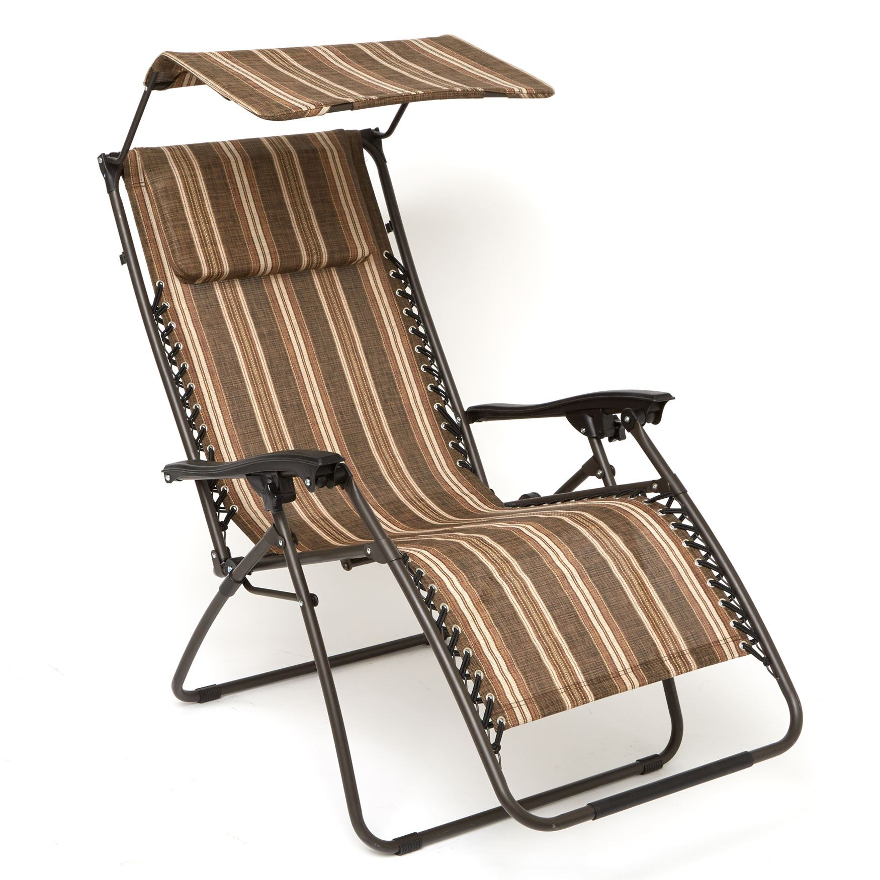 Zero Gravity Chair With Pillow And Canopy, BROWN STRIPE