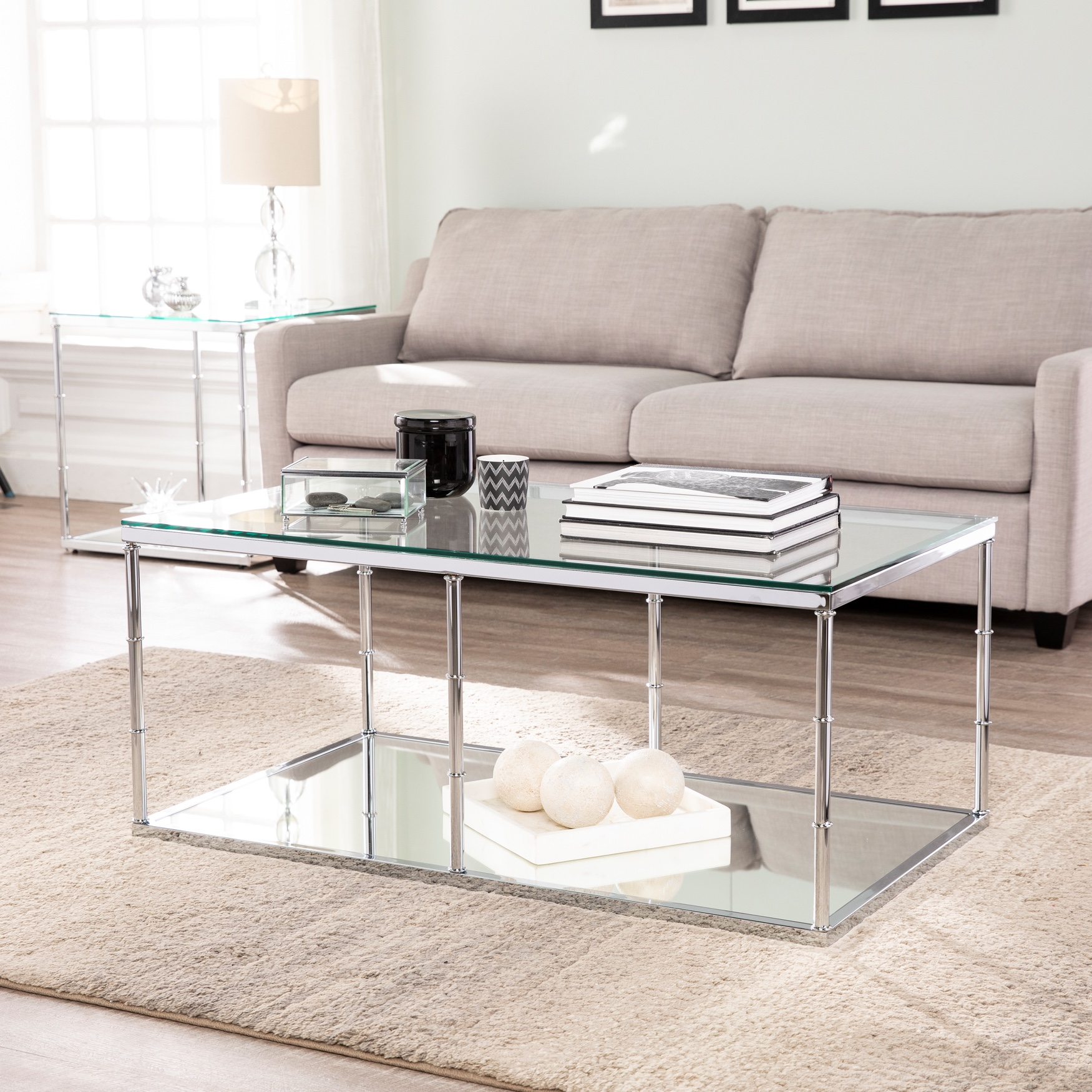 Arbella Glass Cocktail Table with Mirrored Shelf, CHROME