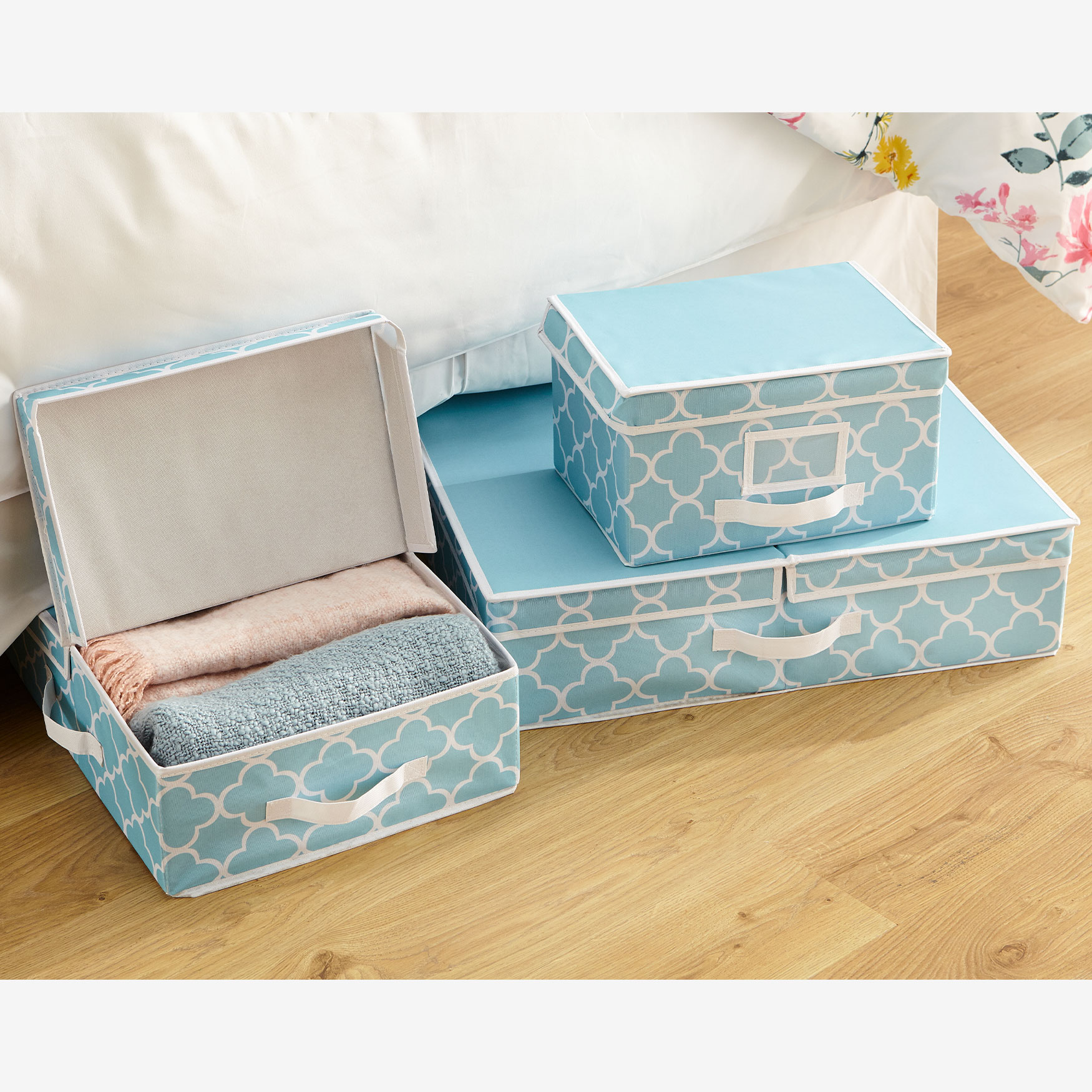 Waverly® Collapsible Storage Boxes, Set of 3, SPA BLUE