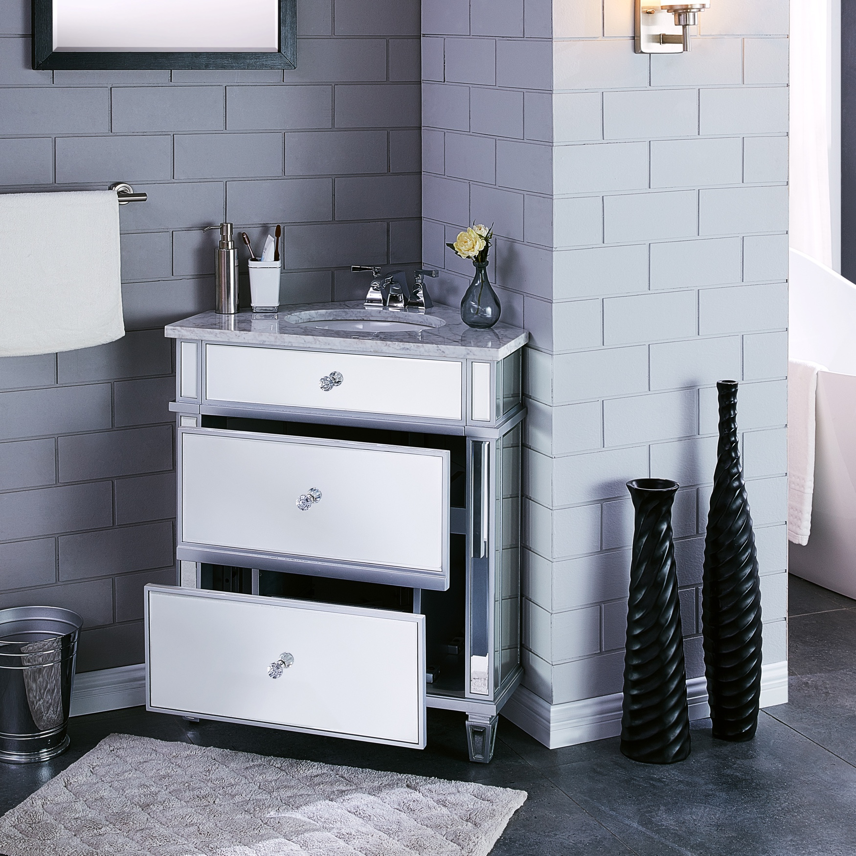 Abbington Mirrored Corner Bathroom Vanity Sink with Drawers, GRAY