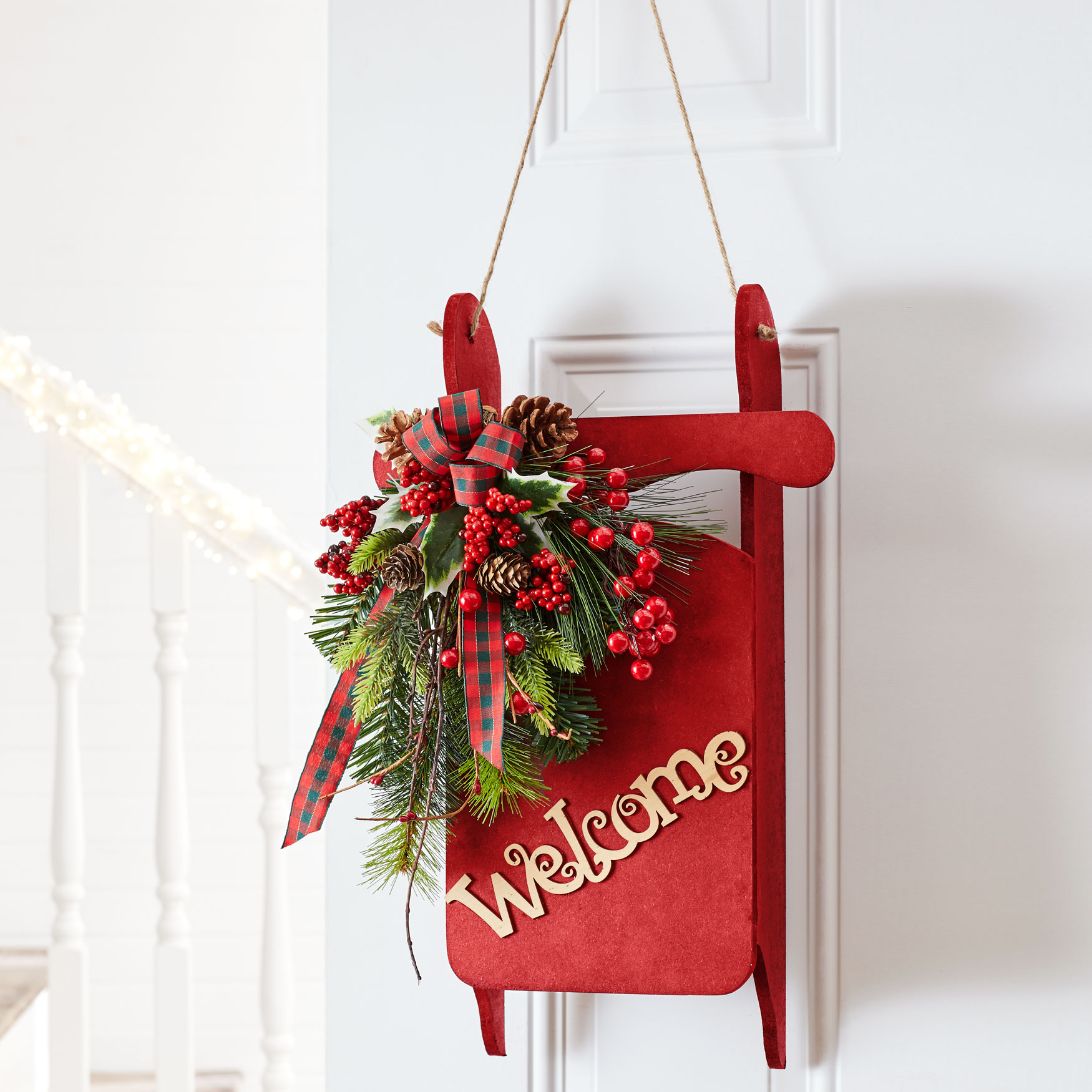 decorative welcome sled red