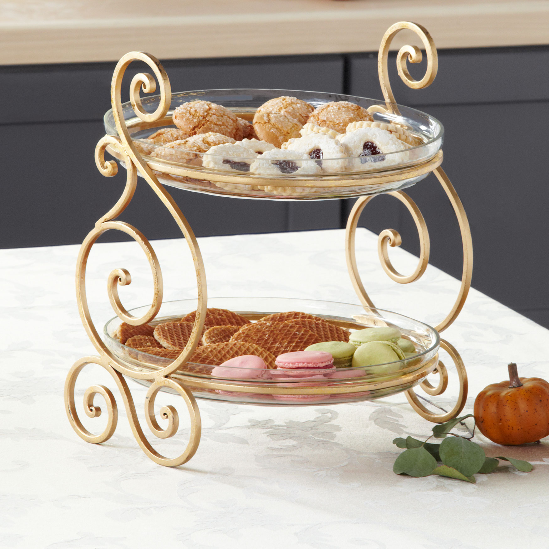 2-Tier Server with Bowls, GOLD