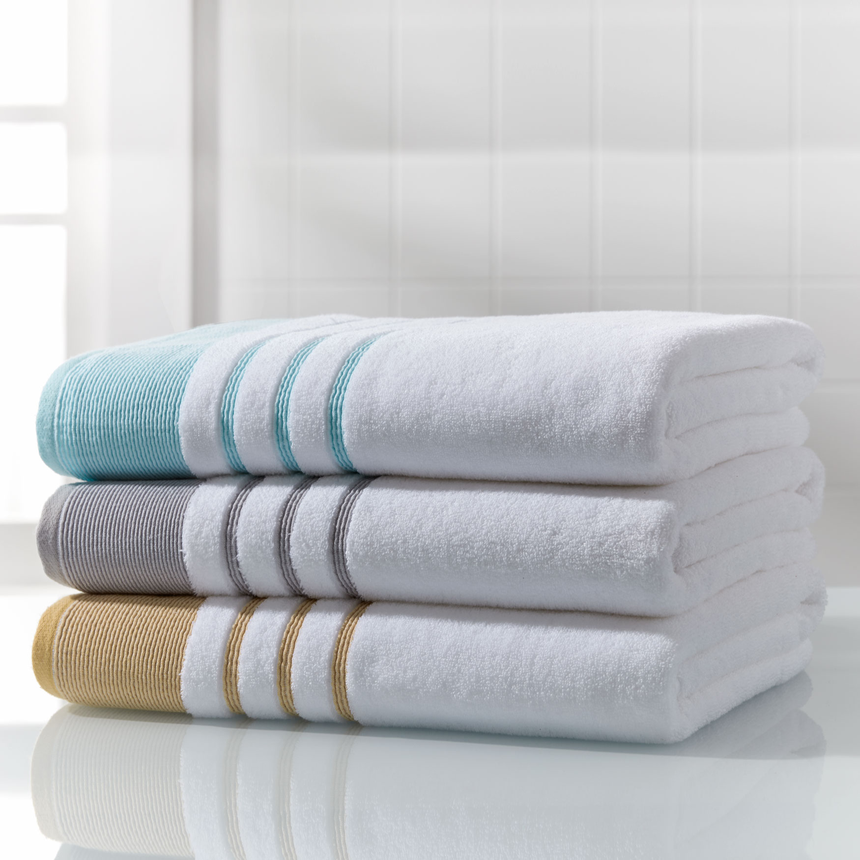 Bath Sheets Oversized: BH STUDIO® Border Oversized Cotton Bath Sheet
