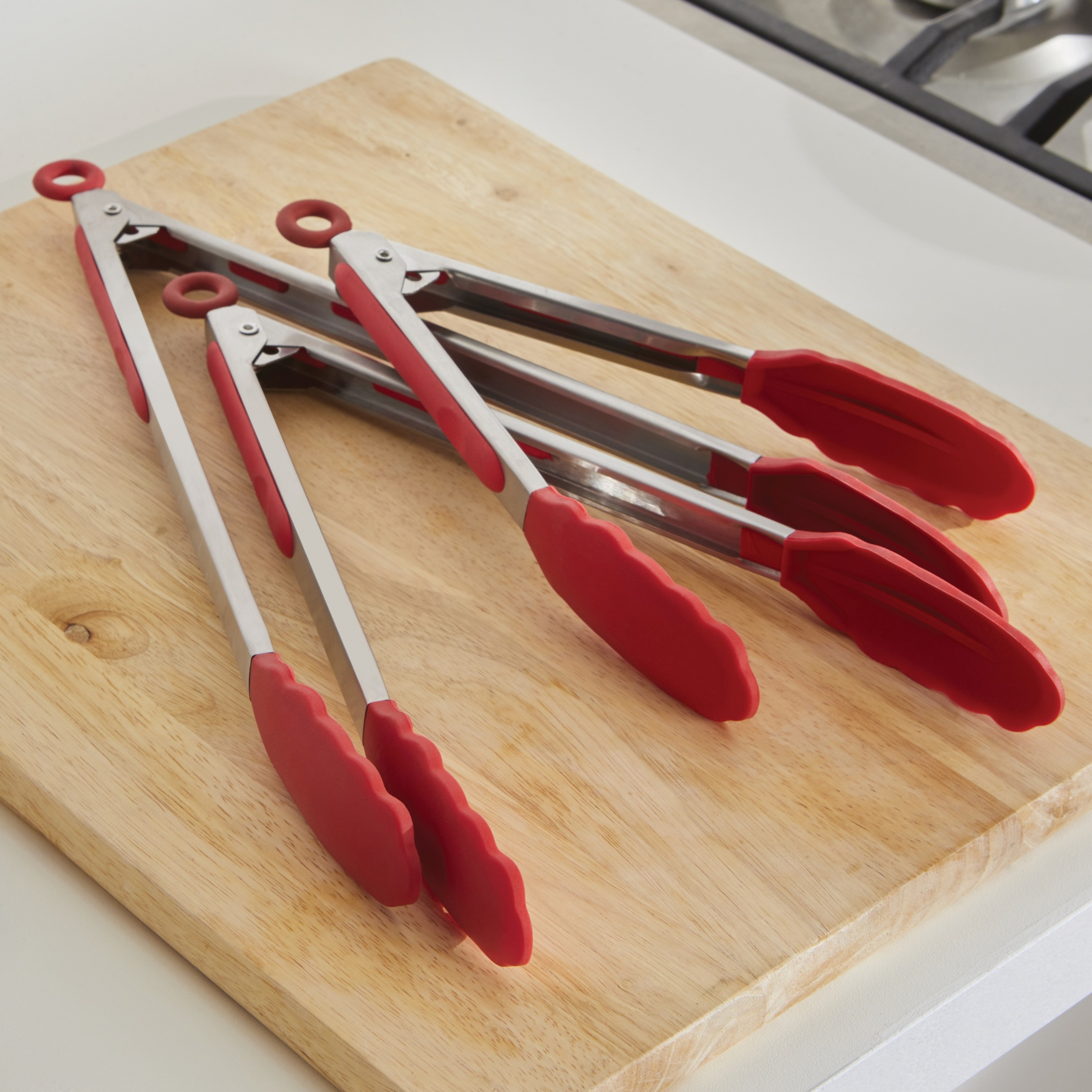 Stainless Tongs, Set of 3, RED