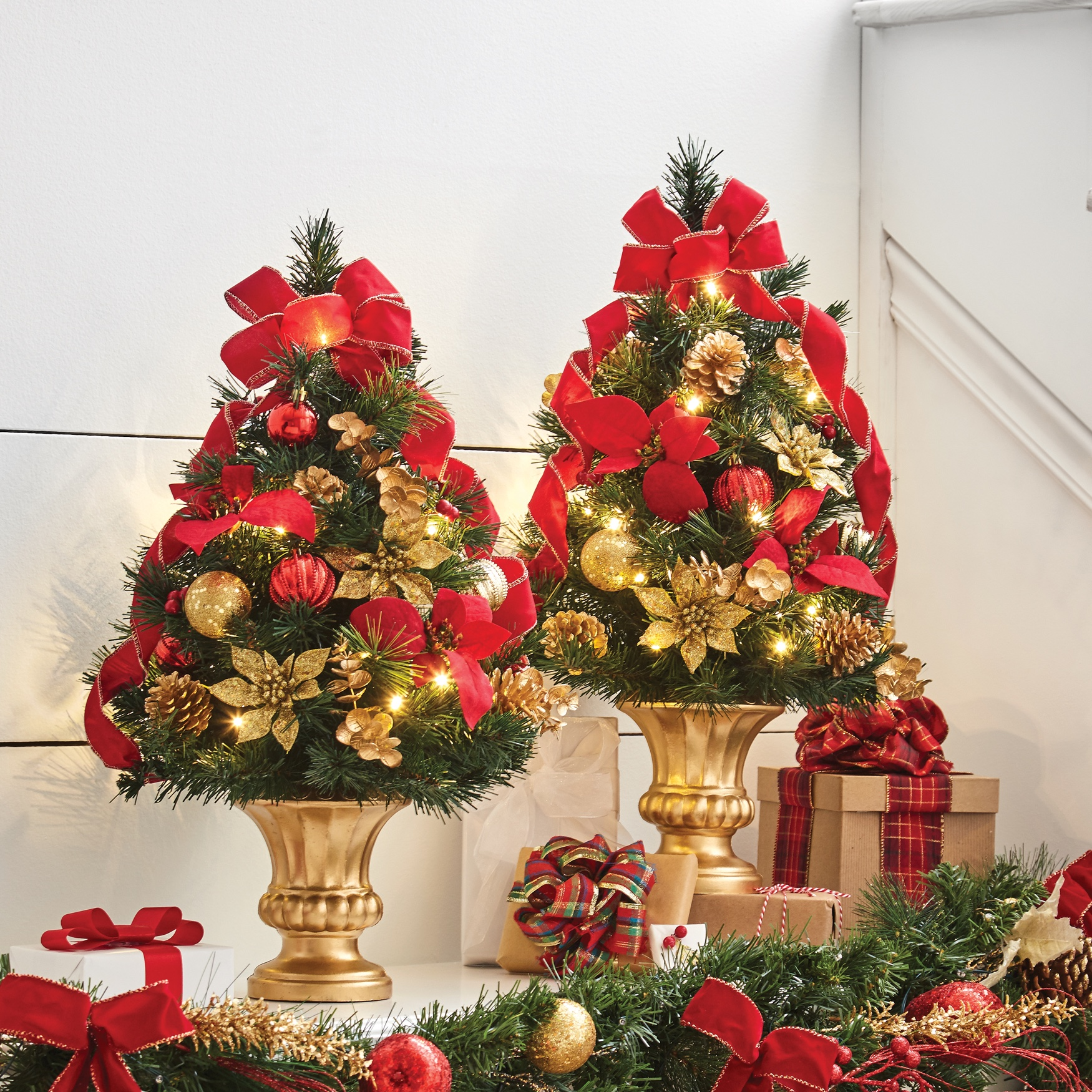 24'H Tabletop Christmas Tree , RED