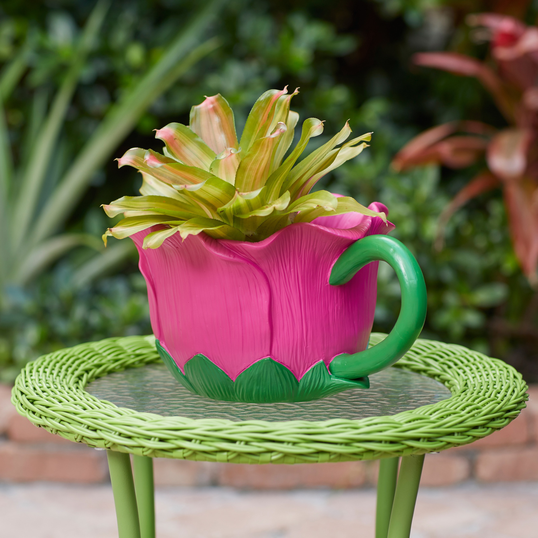 Hand-Painted Teacup Planter, MULTI