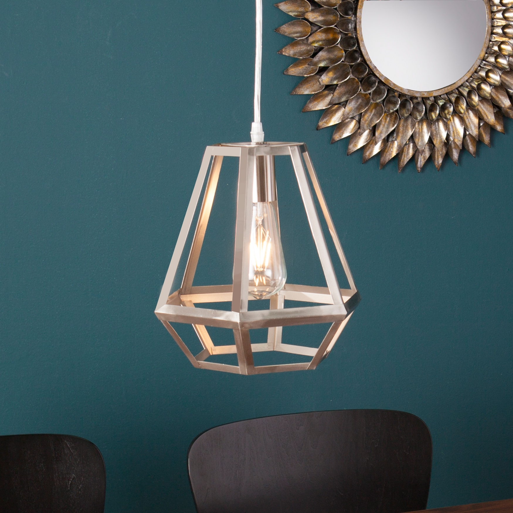 Draco Caged Lantern Pendant Lamp, NICKEL