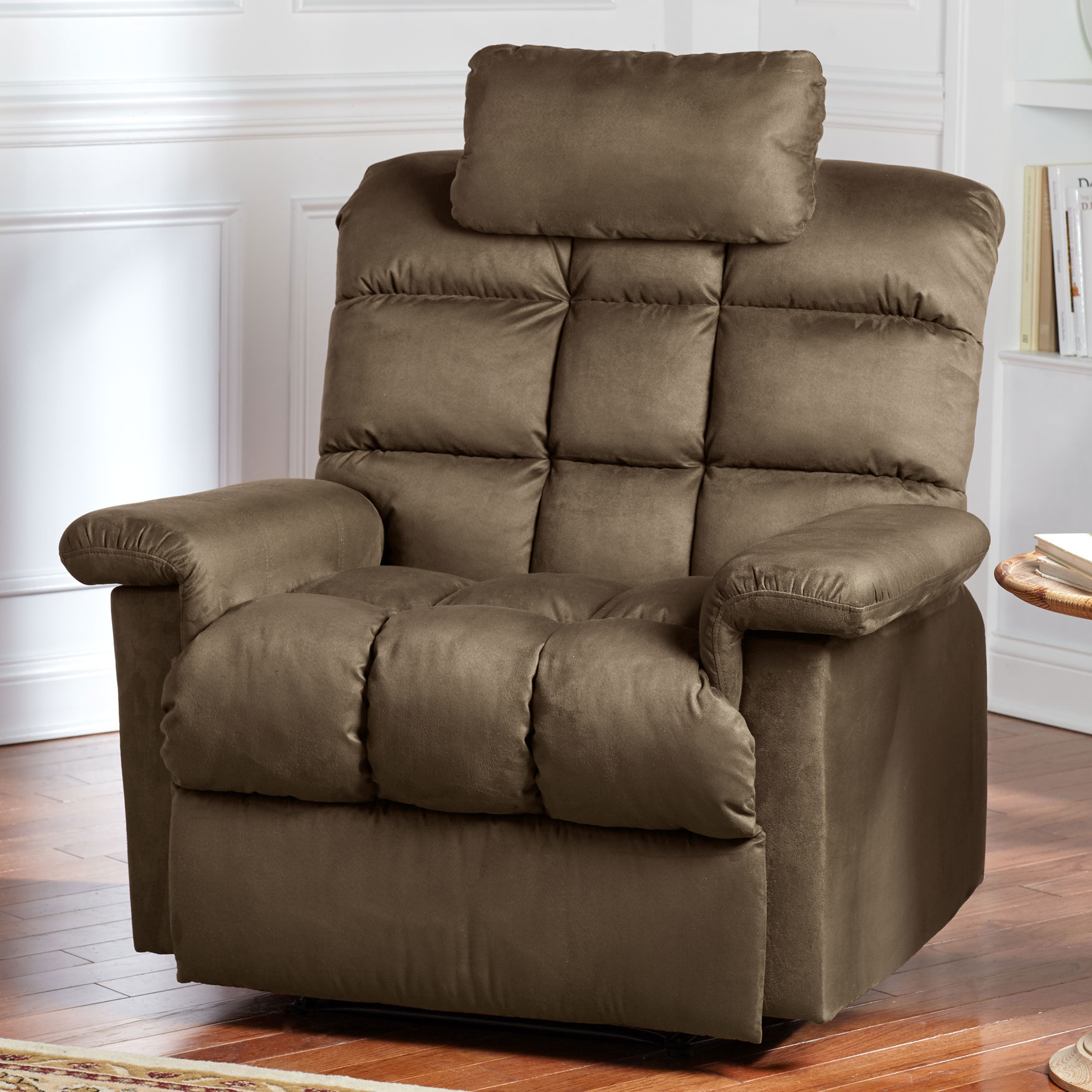 Oversized Pillowtop Recliner with Square Tufted Back, TAUPE