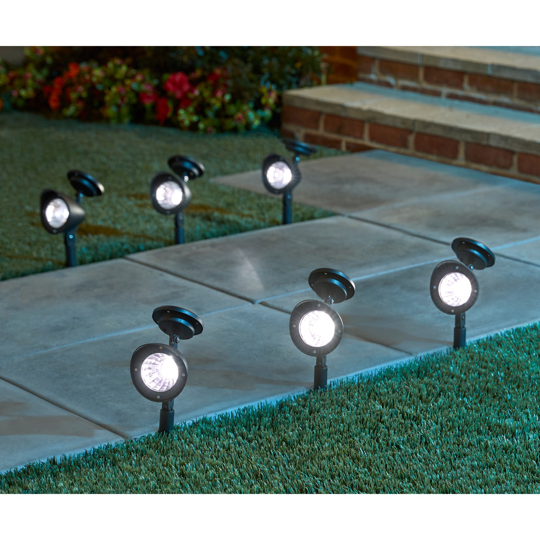 Set of 6 Solar Spot Lights, BLACK