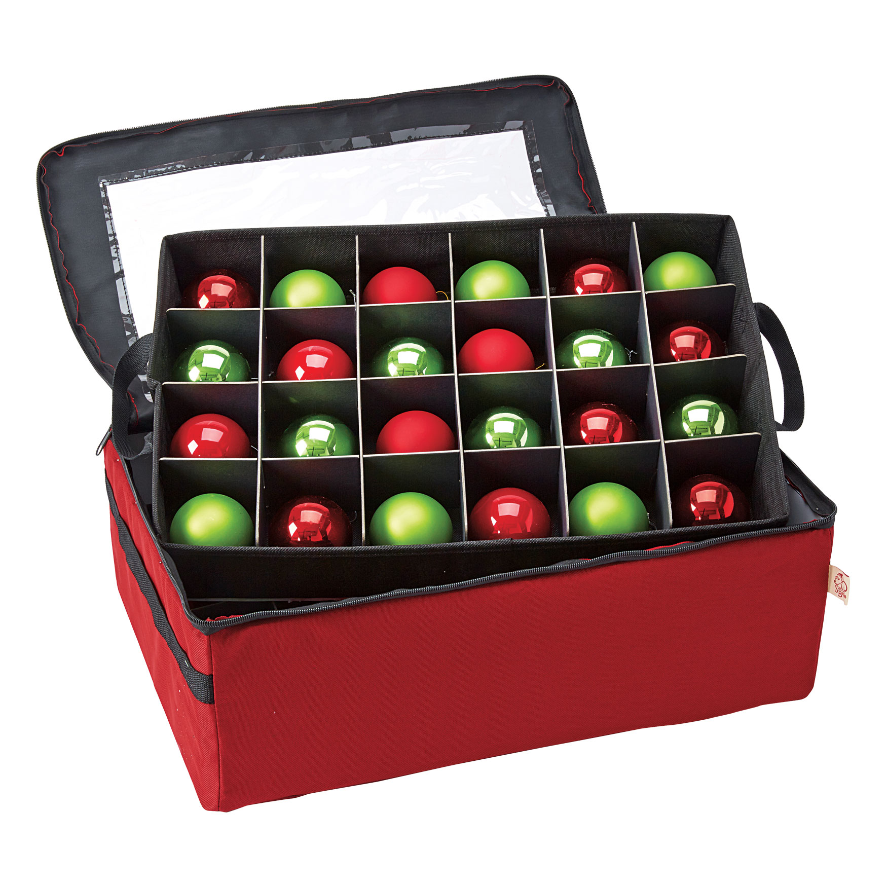 2-Tray Ornament Storage Bag , RED
