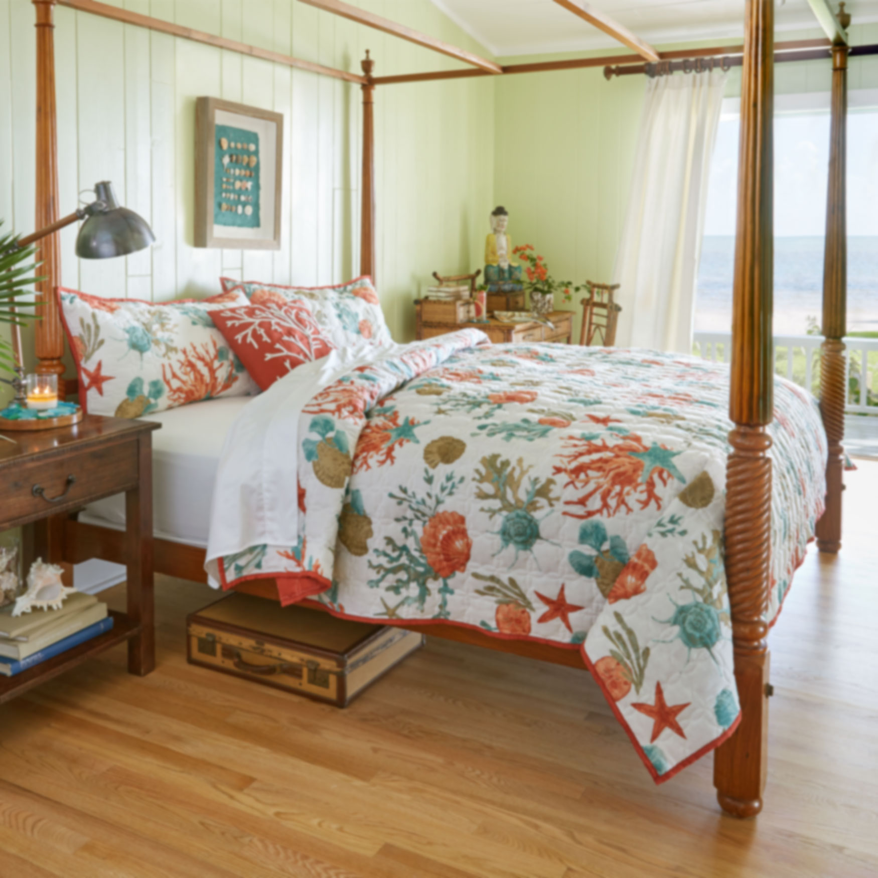 Coastal 3-Pc. Quilt Set & Embroidered Sq Pillow,