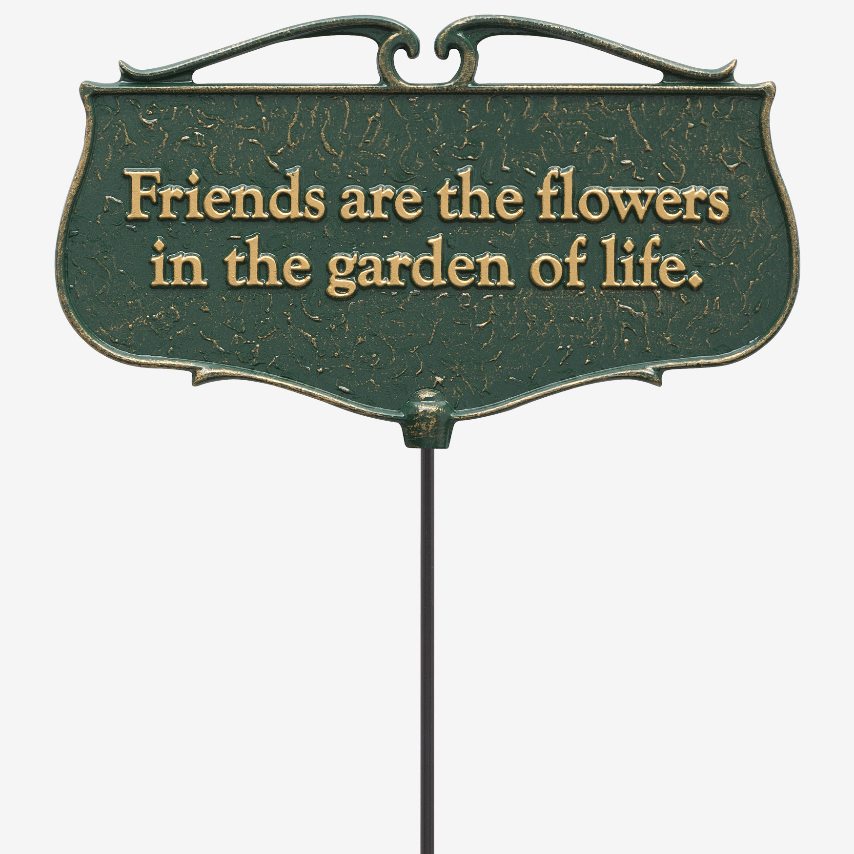 Friends Are The Flowers Garden Poem Sign, GREEN GOLD