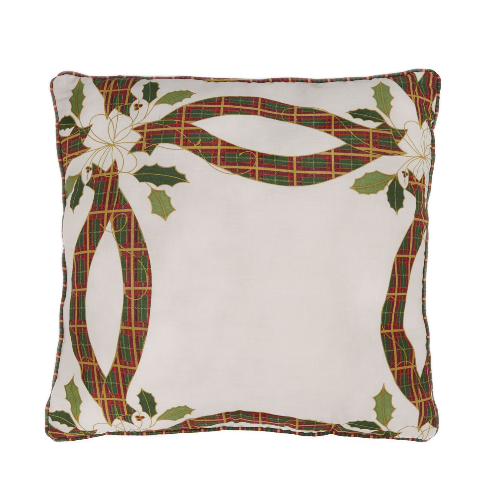 "Holly Christmas 16'"" Sq. Pillow, WHITE RED"