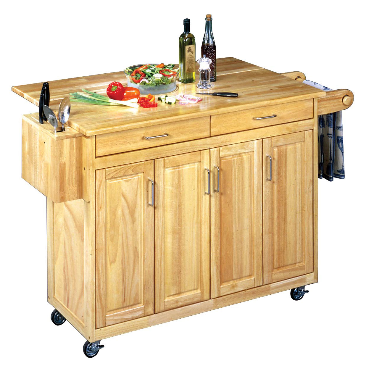 Wood Top Kitchen Cart with Breakfast Bar, WOOD