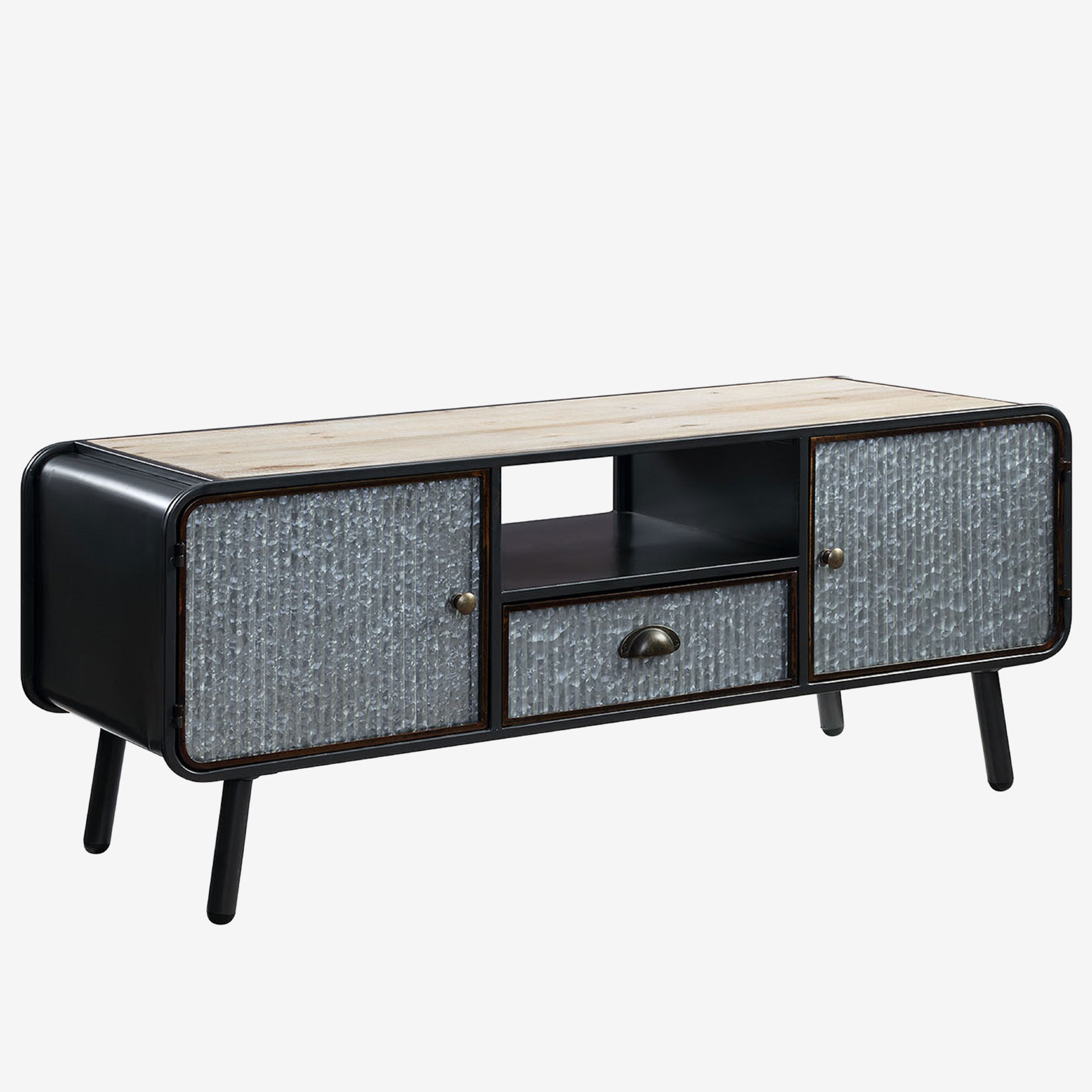 Entertainment Stand with 2 Doors & 1 Drawer, WASHED FIR