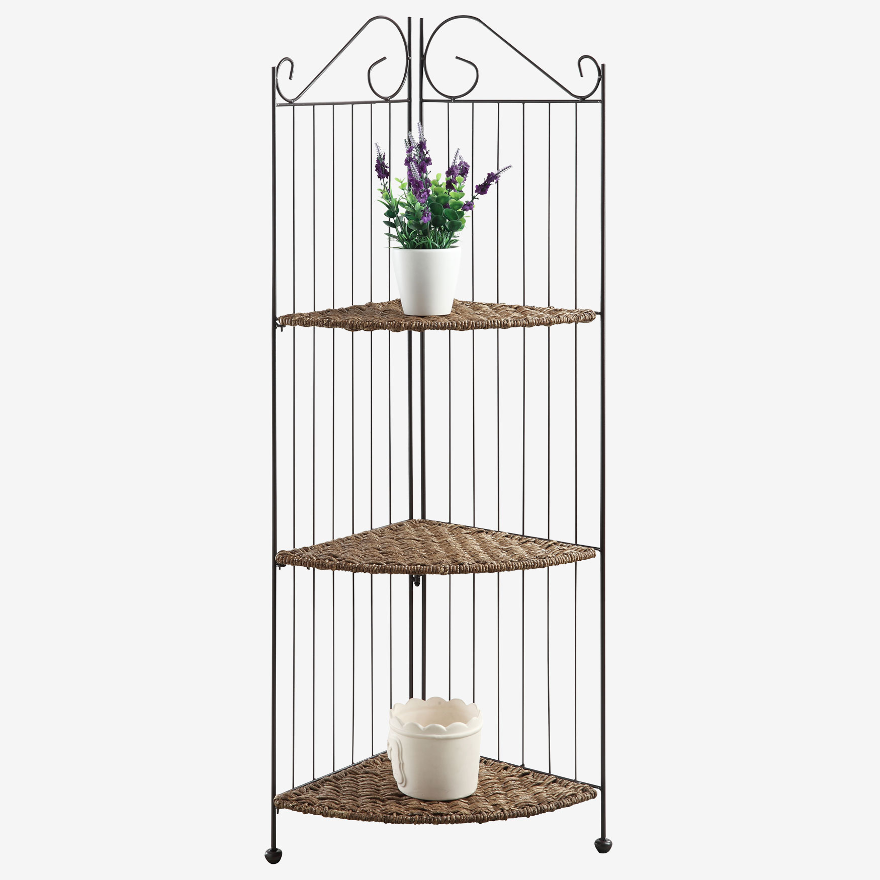 Farmington 3 Tier Folding Corner Maize Weave/ Black Iron Shelf, BROWN