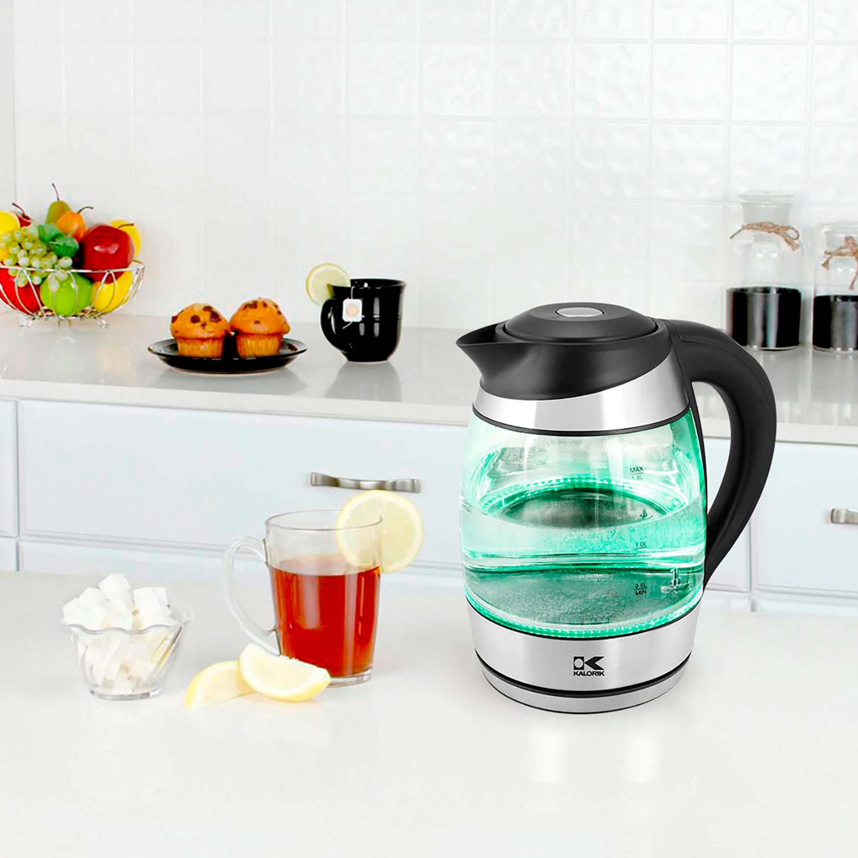 Kalorik Glass Digital Kettle, CLEAR