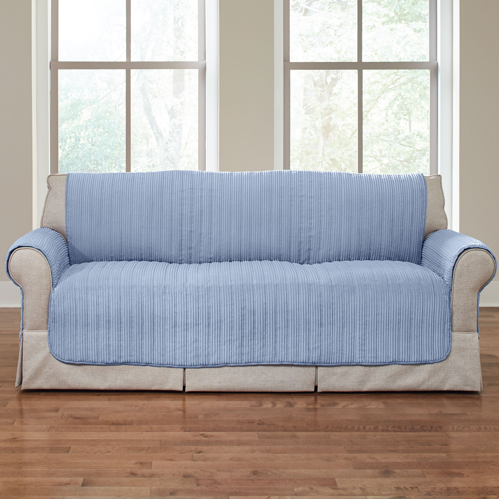 Reversible Plush Stripe Loveseat Protector, LIGHT BLUE