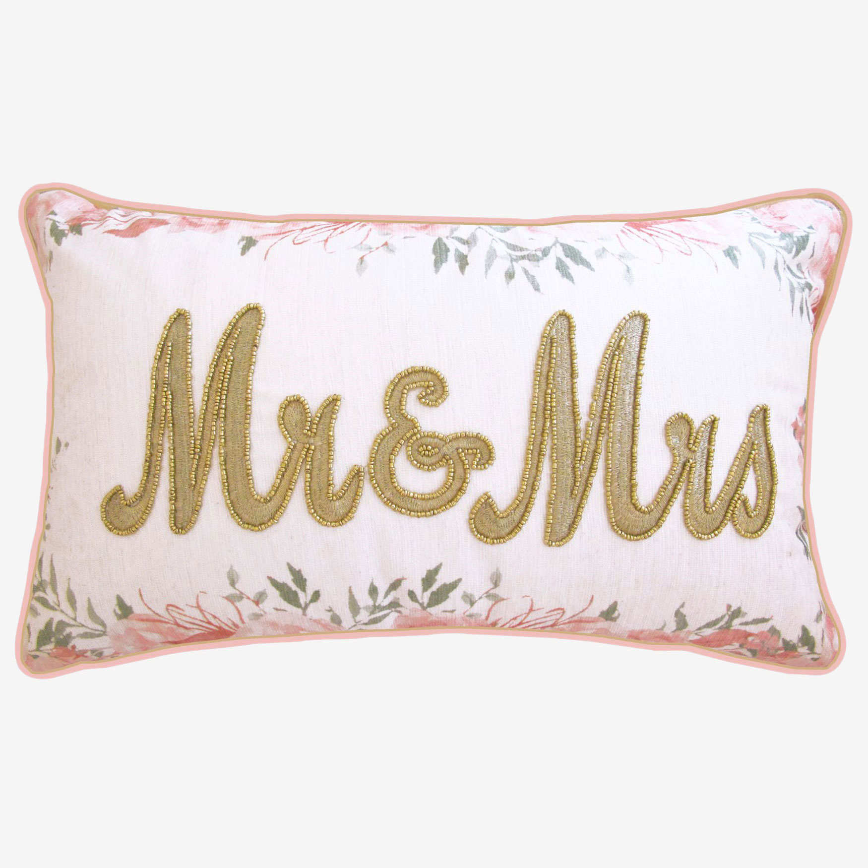 "Floral Beaded ""Mr & Mrs"" Decorative Pillow, OYSTER PINK"