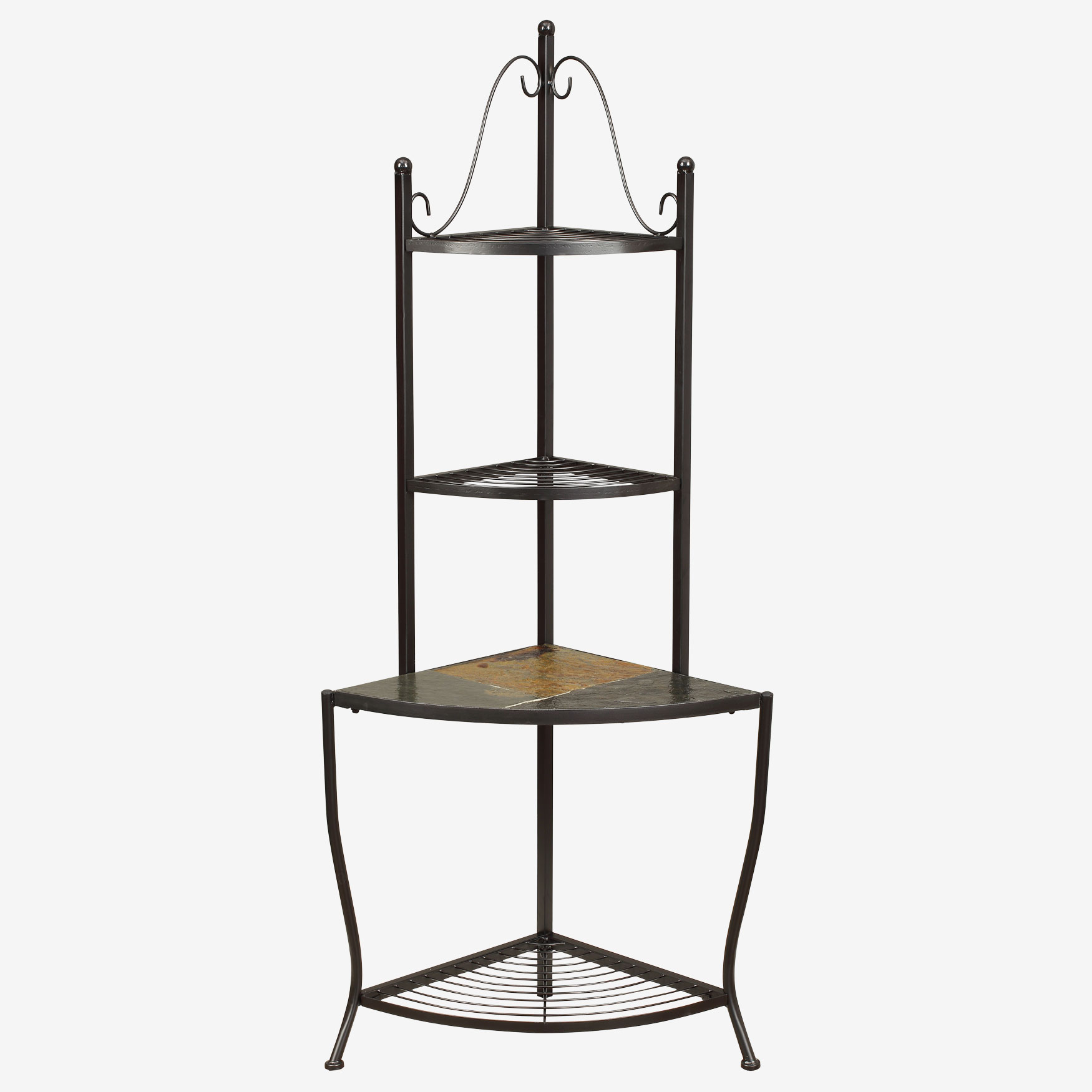Corner Baker's Rack with Slate Top, BLACK METAL