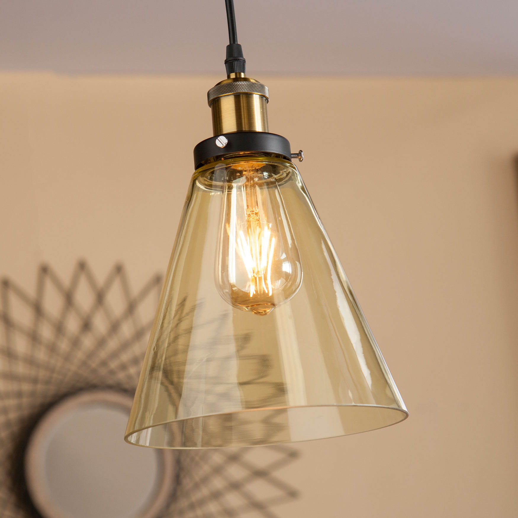 Colored Glass Mini Cone-Shaped Pendant Lamp , AMBER BLACK