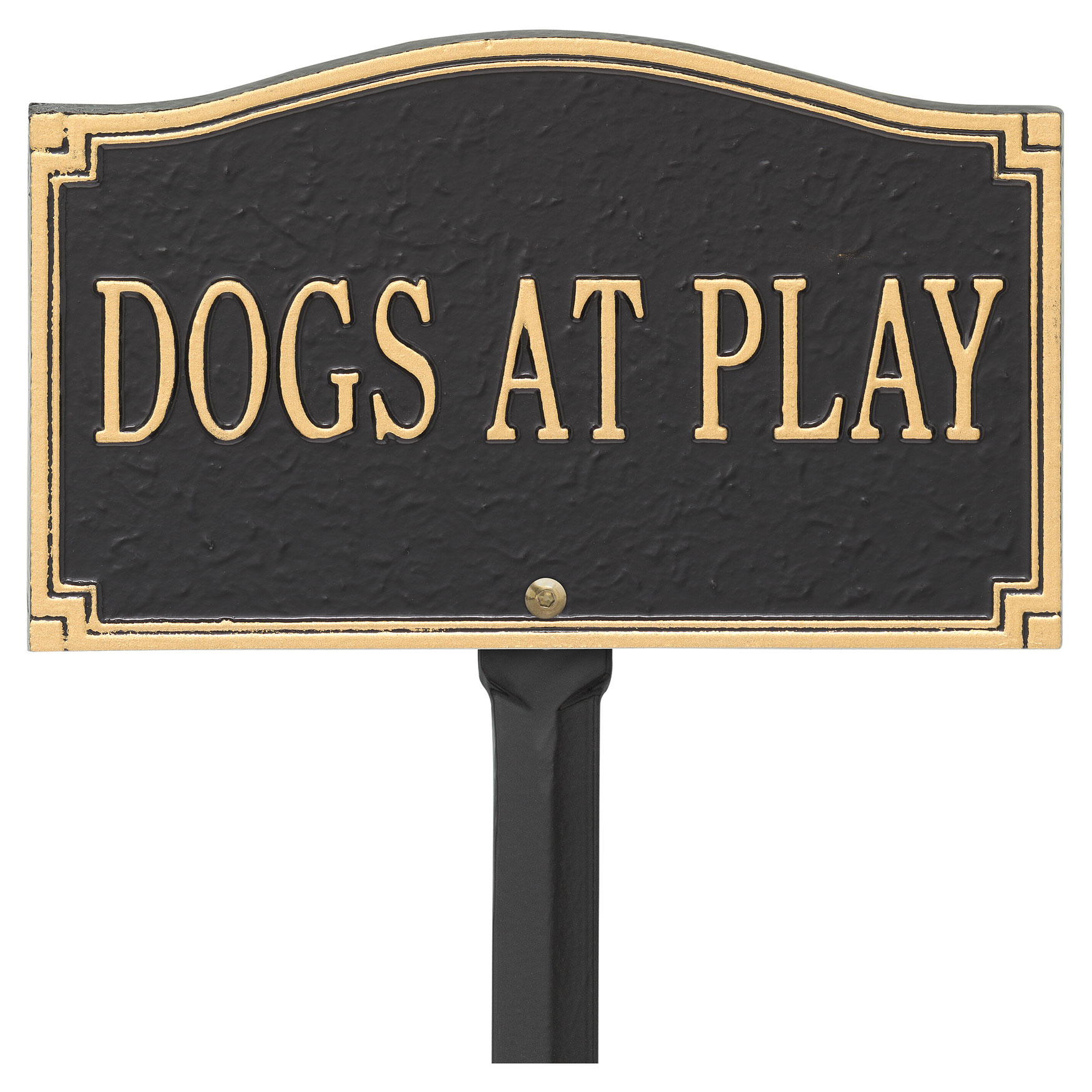 Dogs At Play Sign, BLACK GOLD
