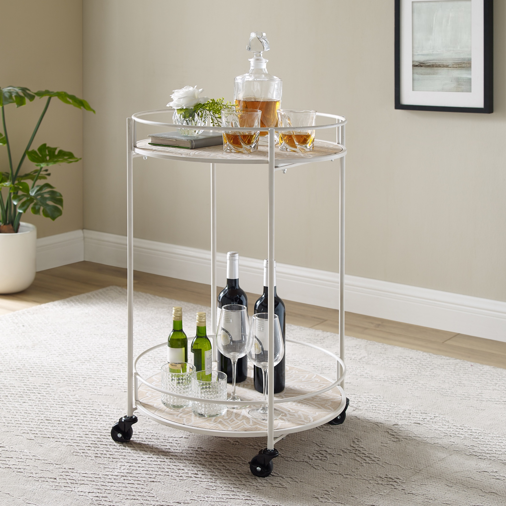 Perry Medallion Rolling Cart, NATURAL