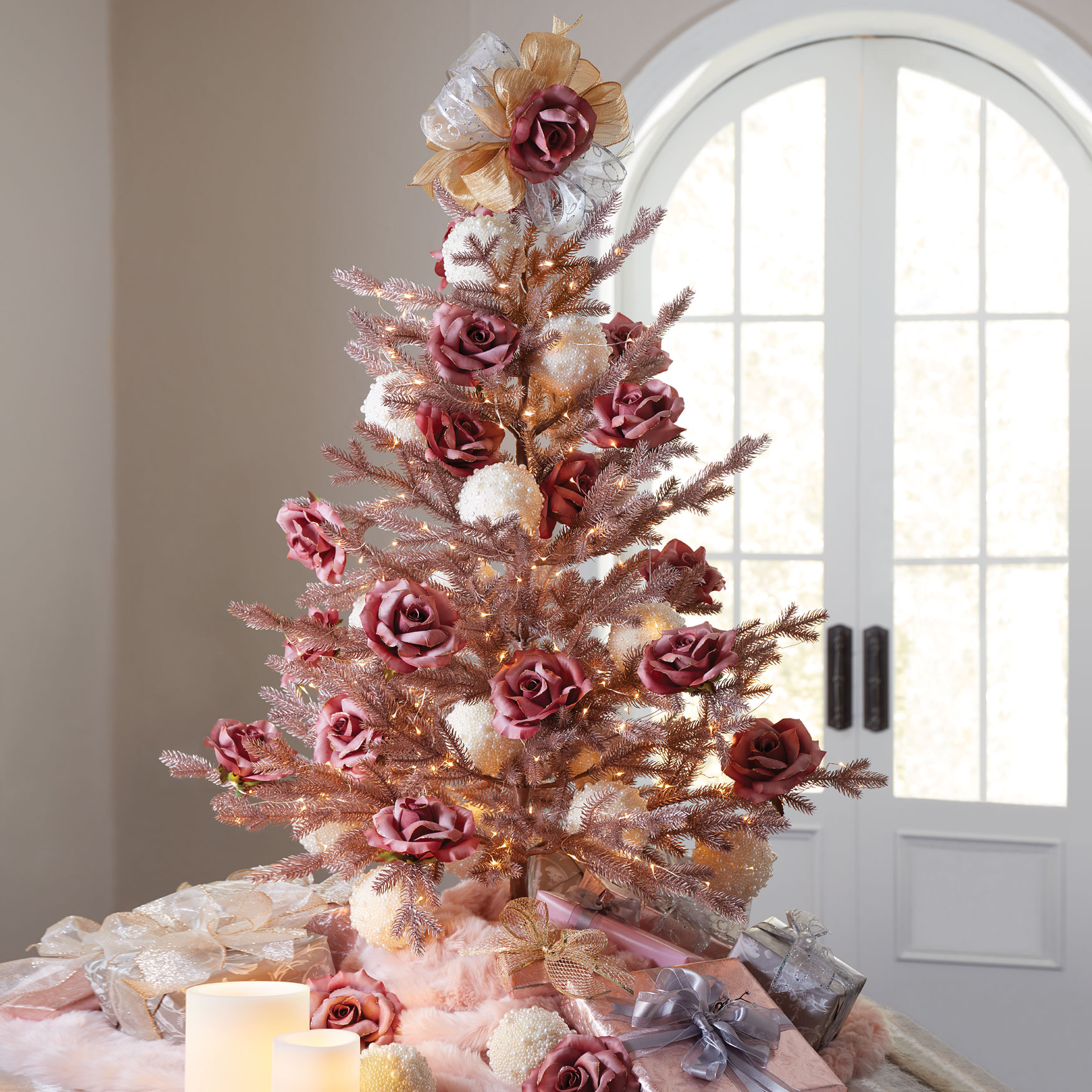 4' Rose Gold Christmas Tree,