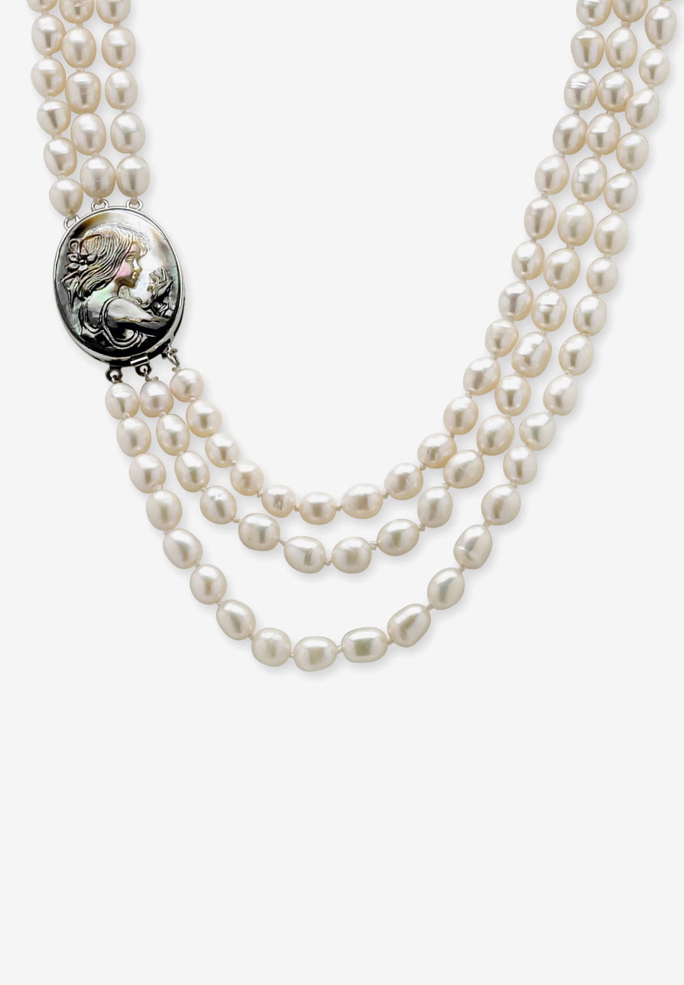 "Silver Tone Multi Strand Cameo Necklace Cultured Freshwater Pearl 28"", PEARL"