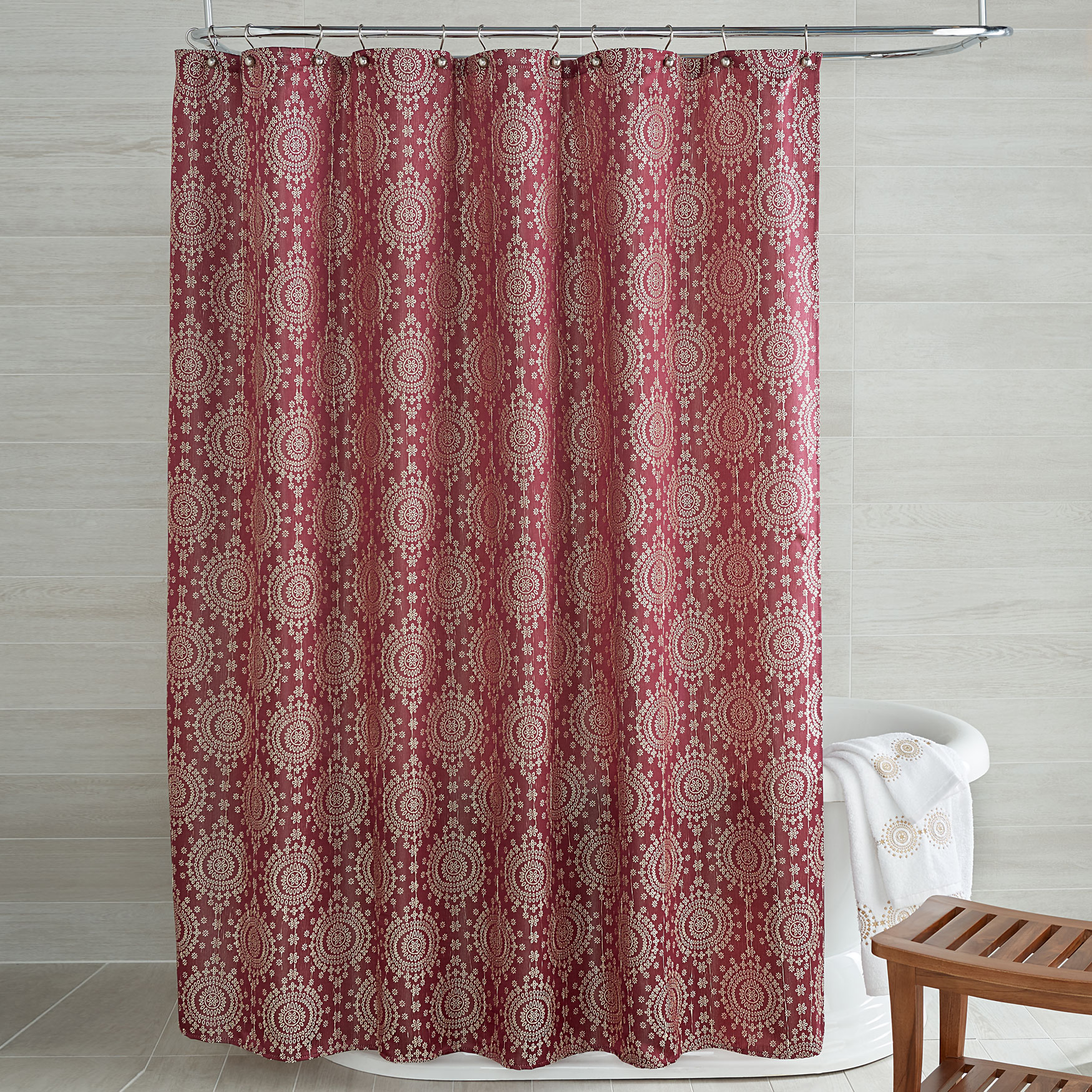 Cyrus Jacquard Shower Curtain PLUM
