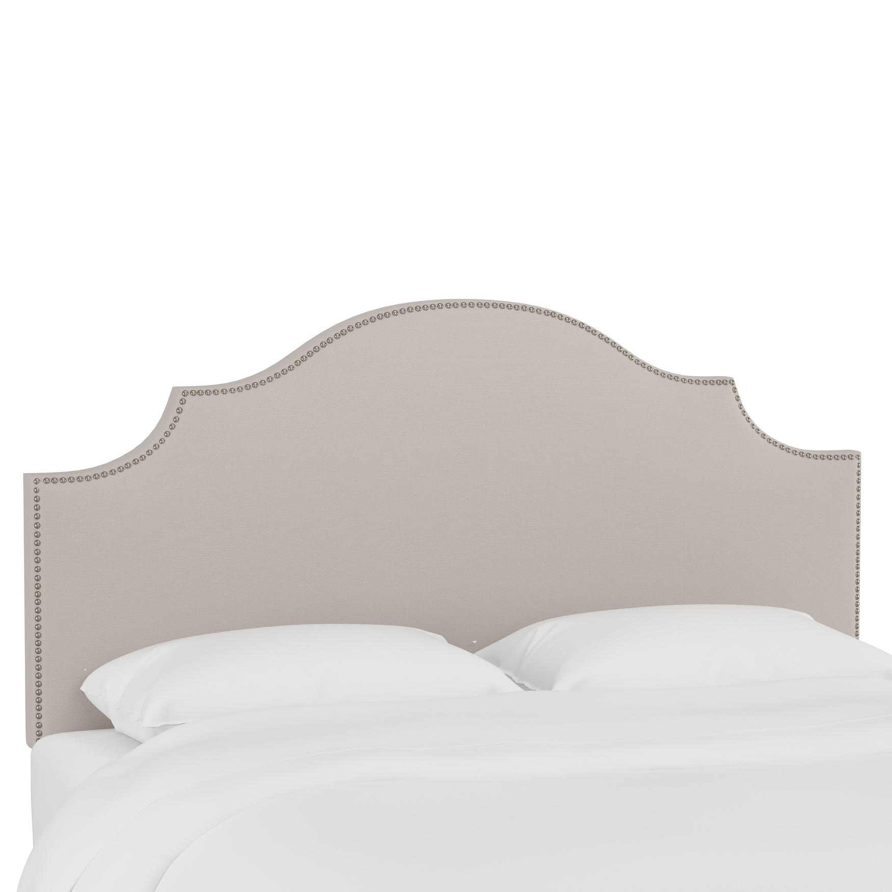 Linen Nail Button Notched Headboard,