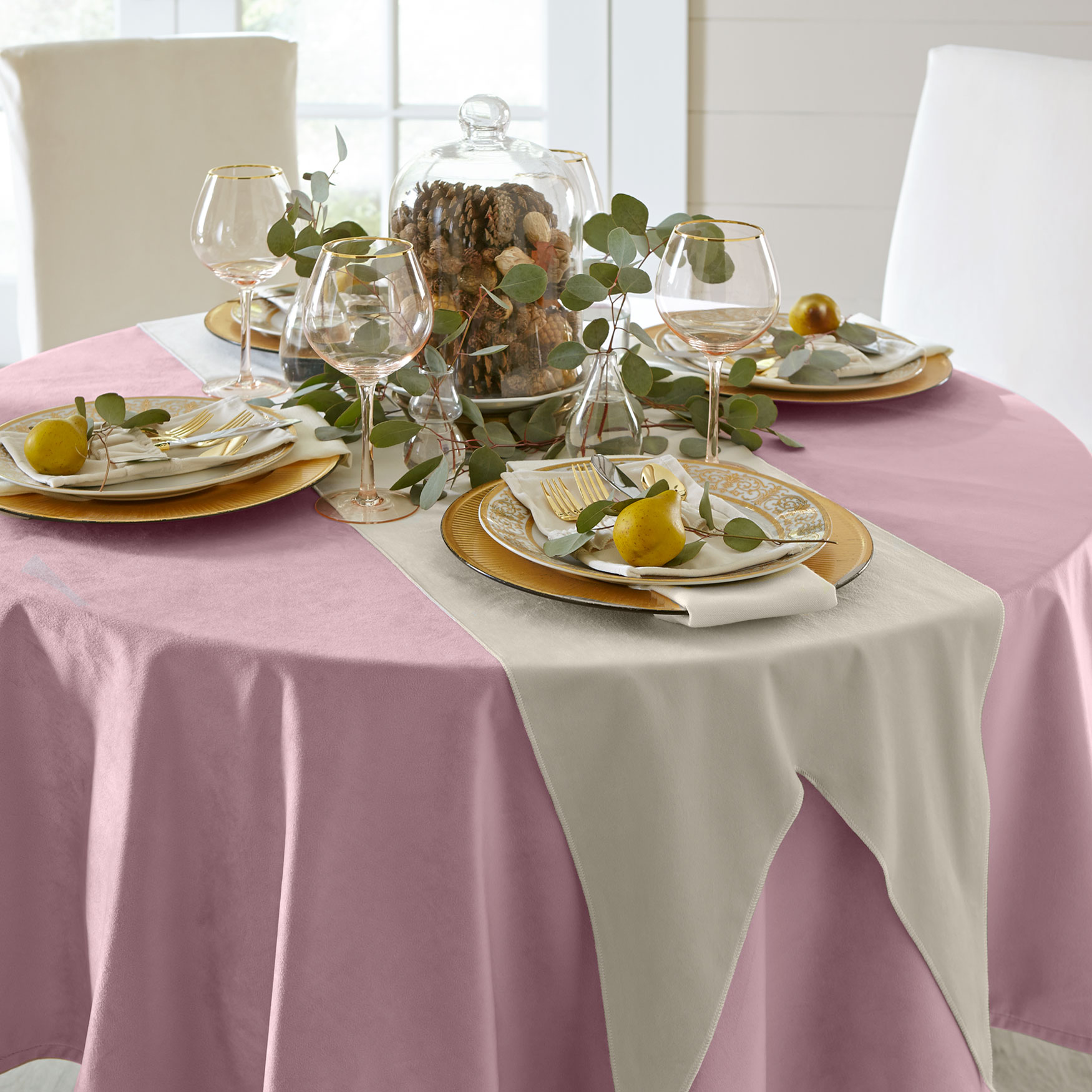 Round Venice Velvet Tablecloth ,