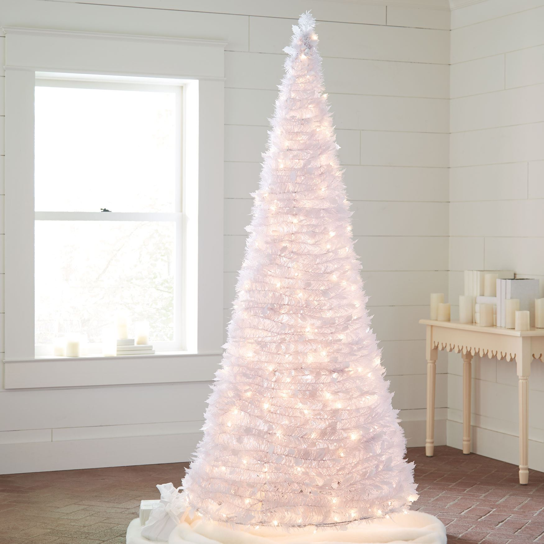 7 Ft White Pre Lit Pop Up Trees Plus Size Christmas Brylane Home