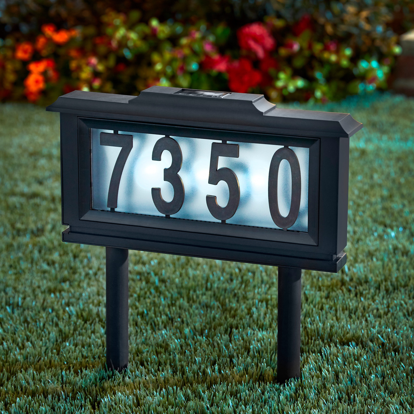 Solar Light House Number Plaque Black