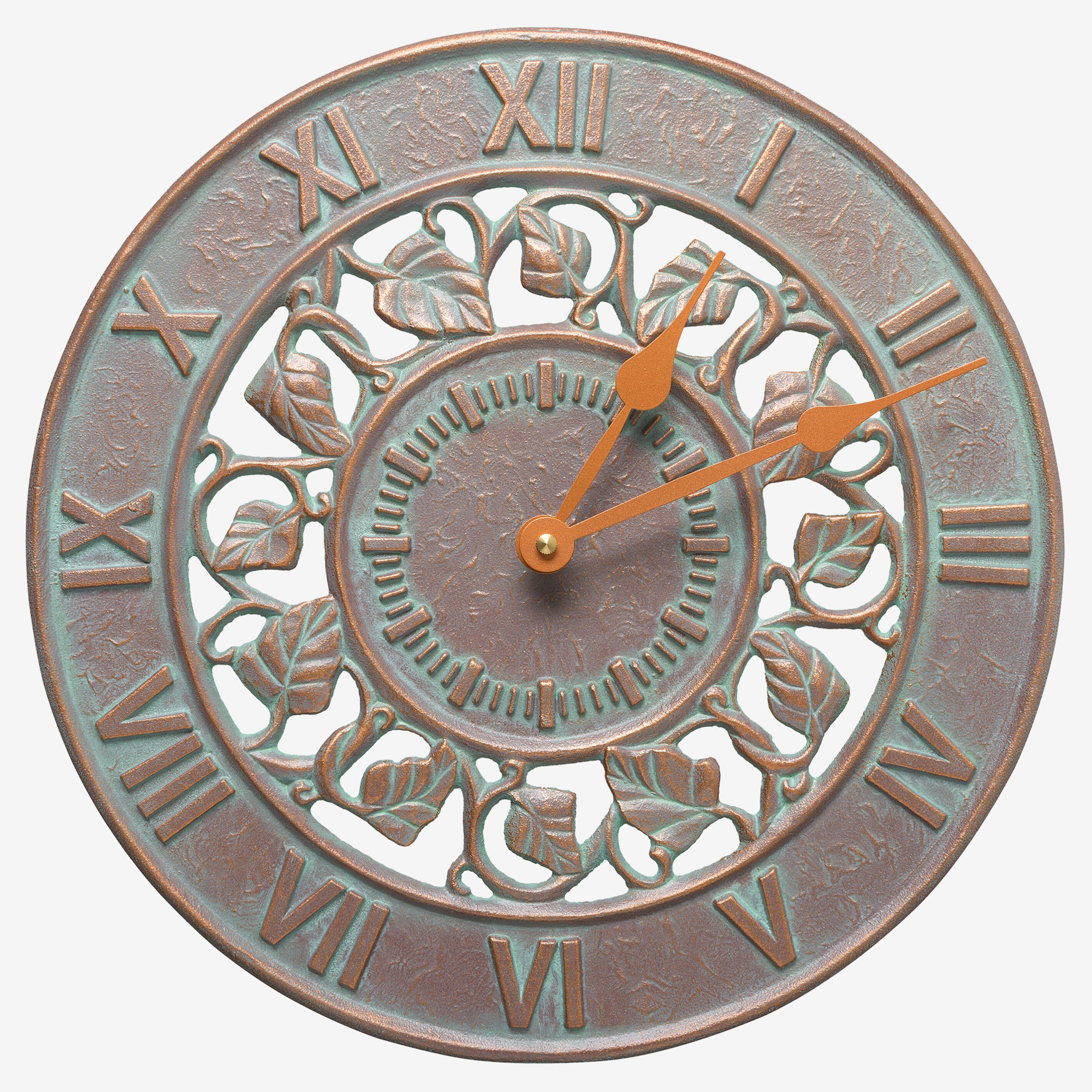 "Ivy Silhouette 12"" Indoor Outdoor Wall Clock, COPPER VERDIGRIS"