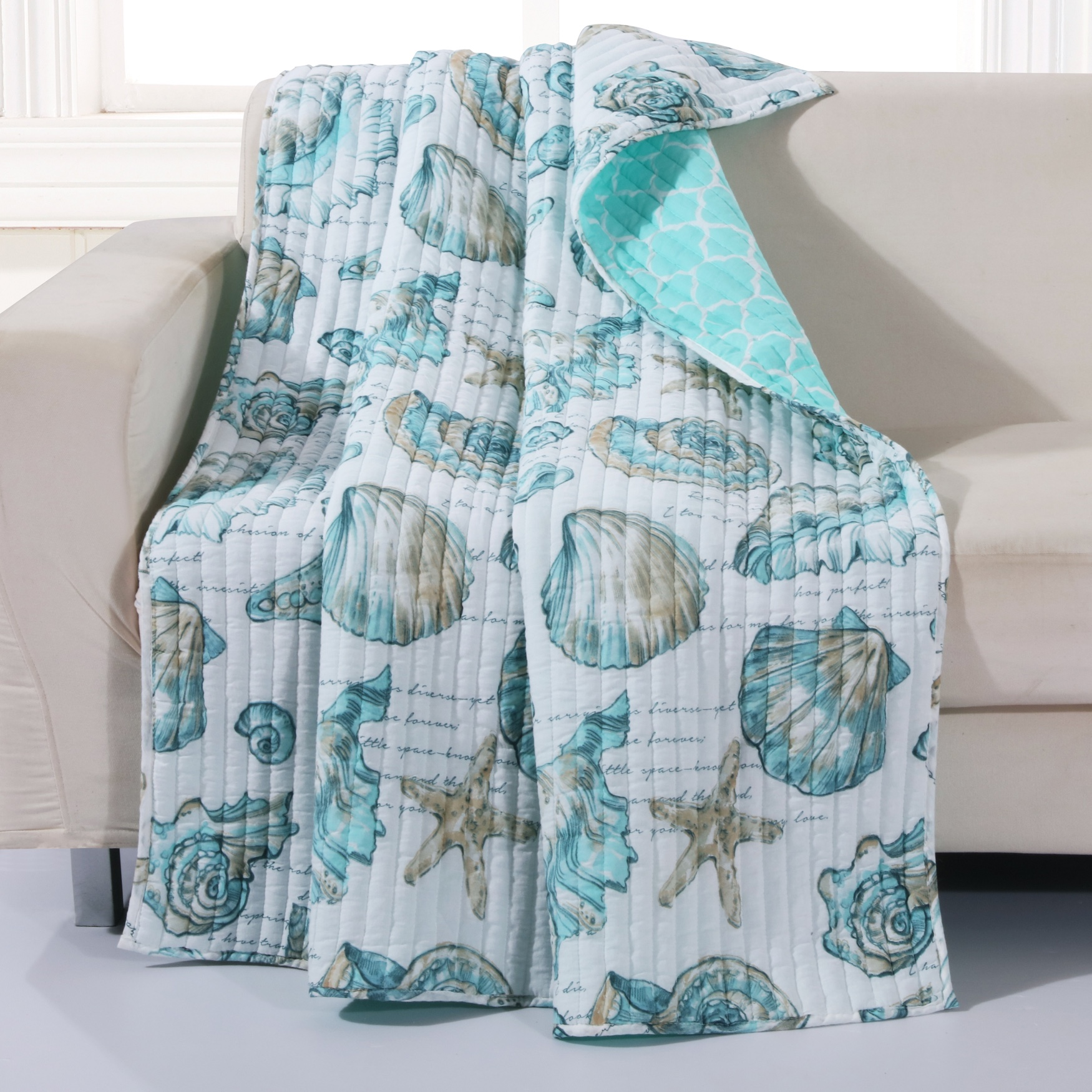 Barefoot Bungalow Cruz Quilted Throw Blanket,