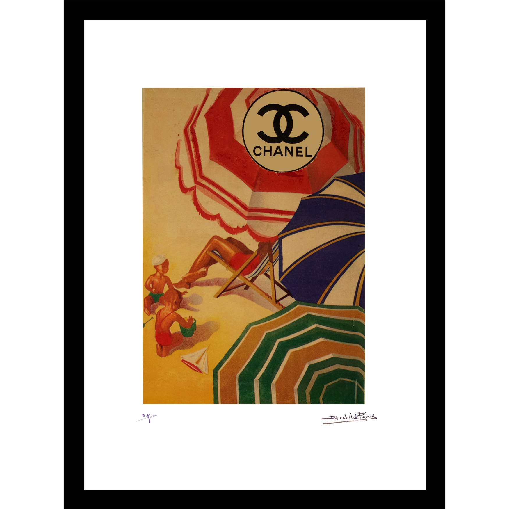 Vintage Chanel Beach Umbrellas 14x18 Framed Print, MULTI