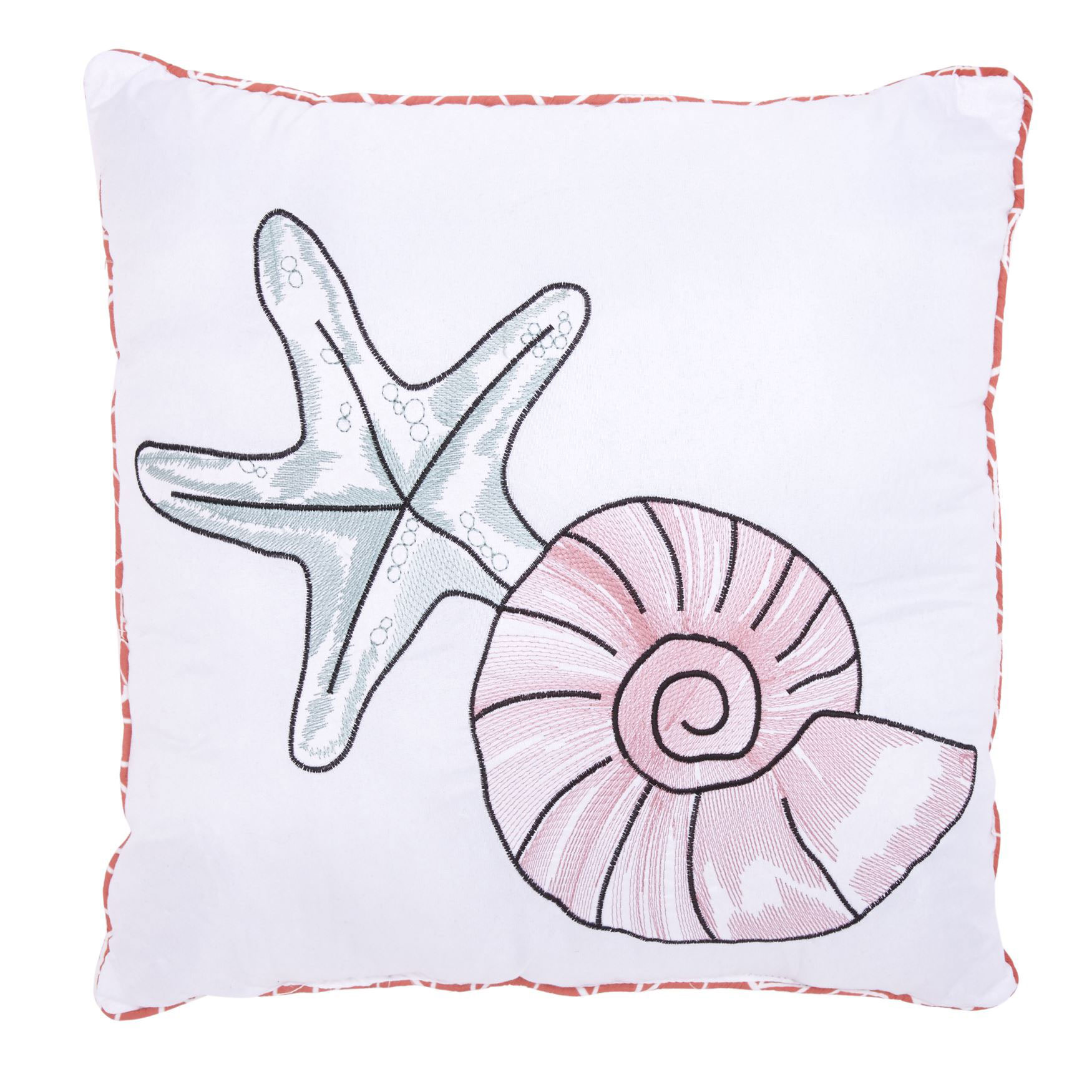 Coral Reef 16' Square Pillow , WHITE CORAL MULTI